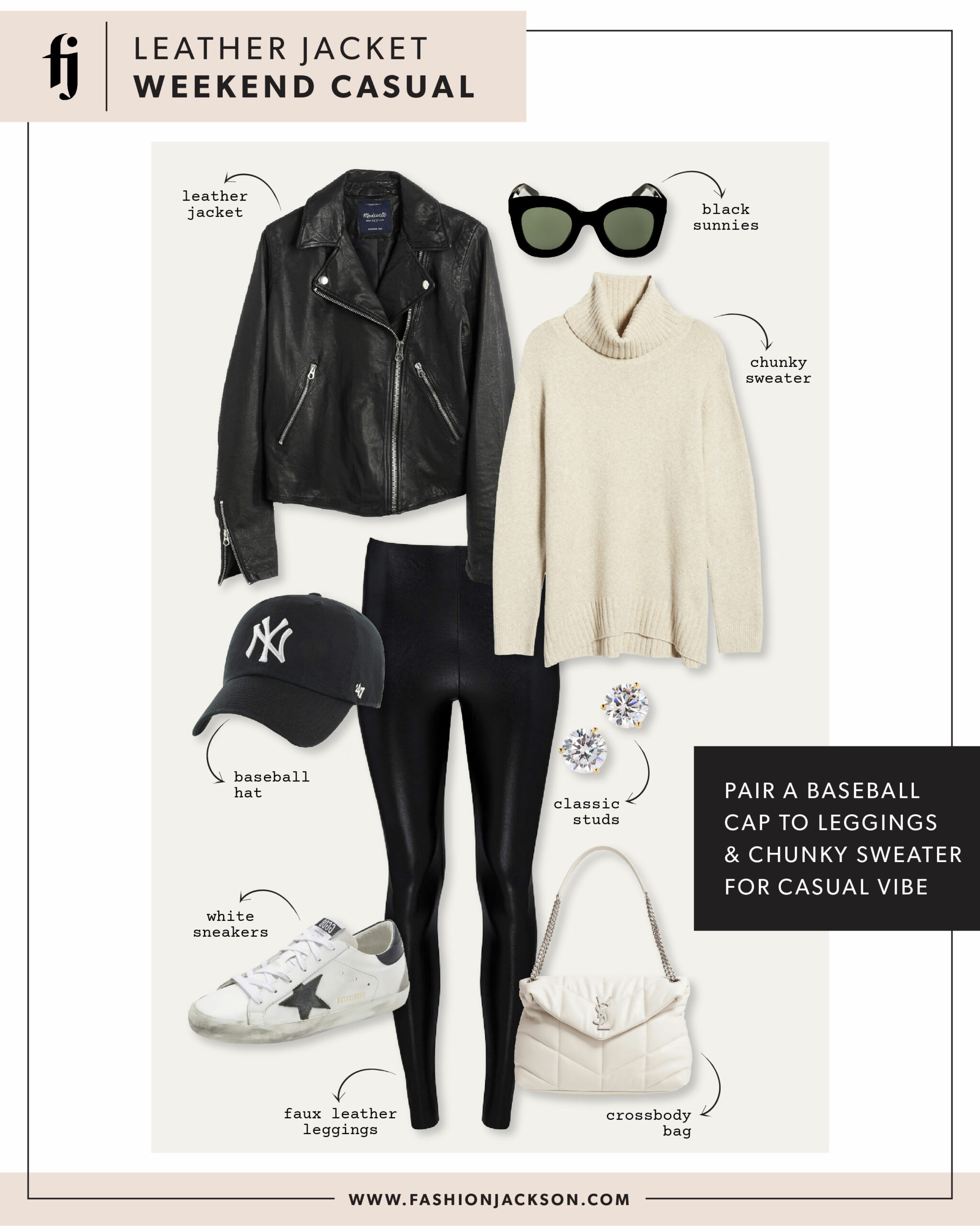 Black Leather Jacket Outfit Idea