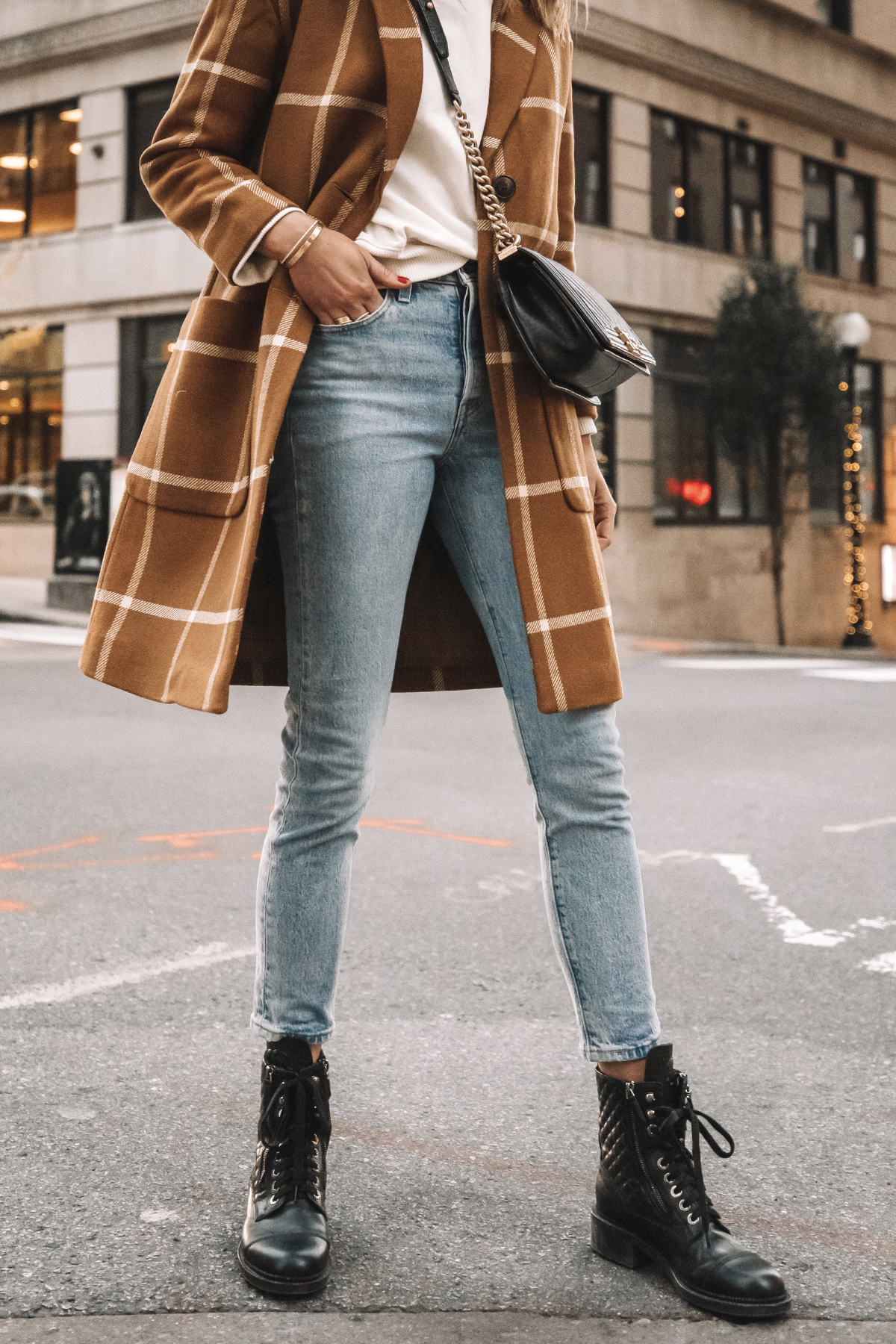 Fashion Jackson Madewell Camel Plaid Coat Levis Jeans Combat Boots Outfit