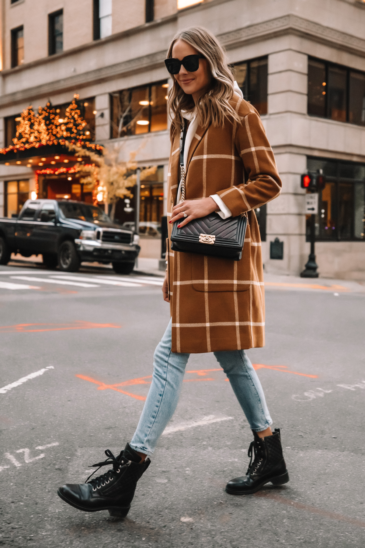 Fashion Jackson Madewell Camel Plaid Coat Levis Jeans Combat Boots Street Style Outfit 1