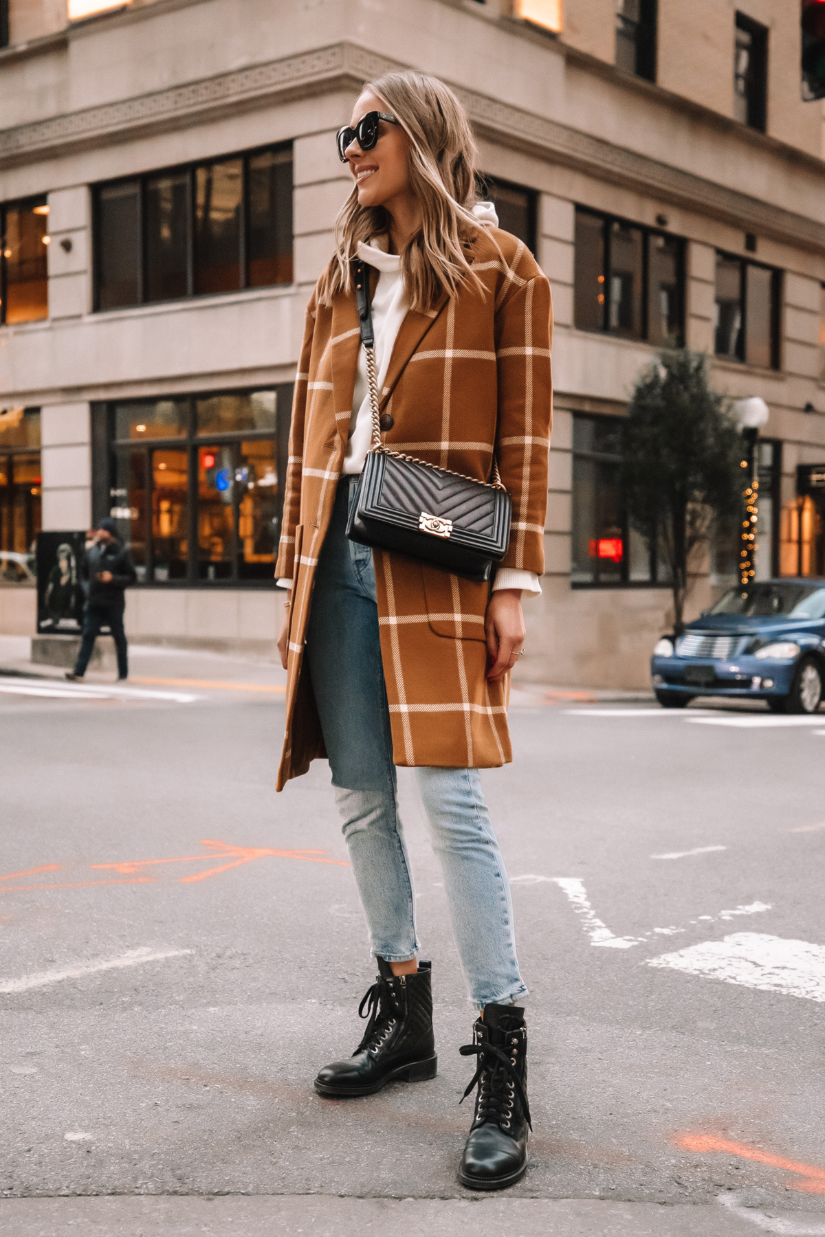 Fashion Jackson Madewell Camel Plaid Coat Levis Jeans Combat Boots Street Style Outfit 2