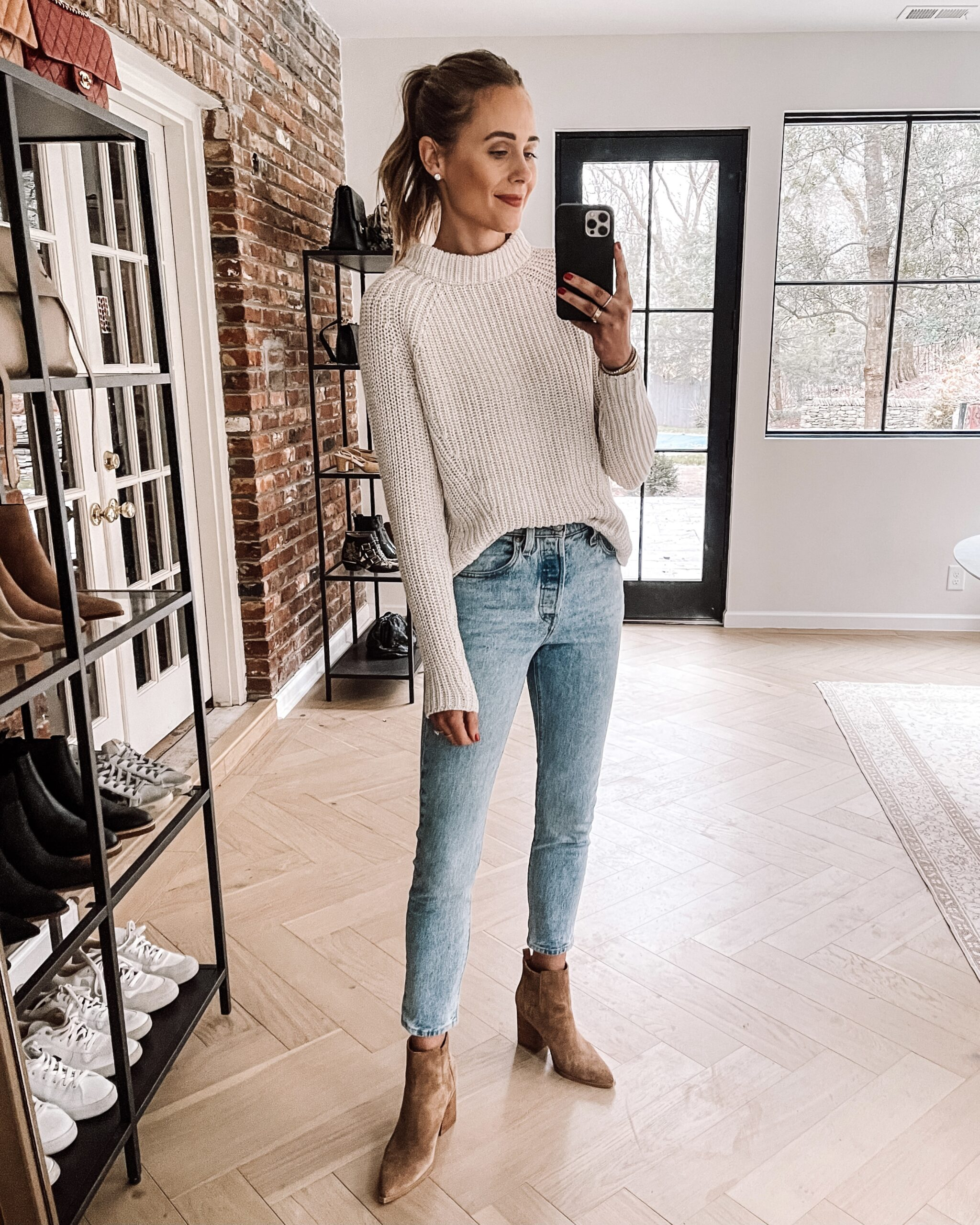 Fashion Jackson Wearing Amazon Fashion Ivory Knit Shaker Sweater Jeans Tan Suede Booties