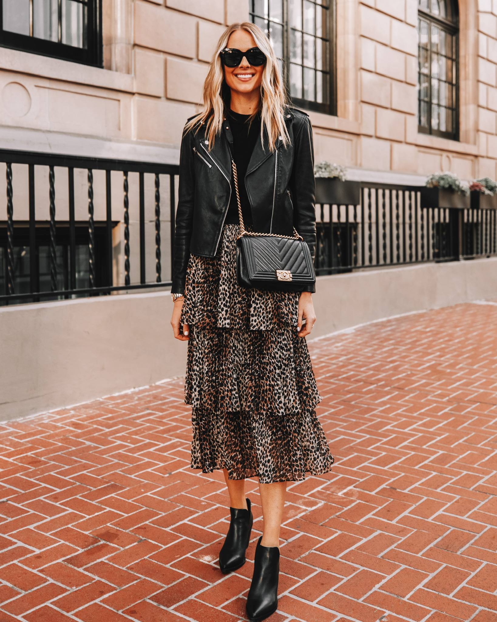 Fashion Jackson Wearing Black Leather Jacket Outfit Leopard Midi Skirt Black Leather Boots