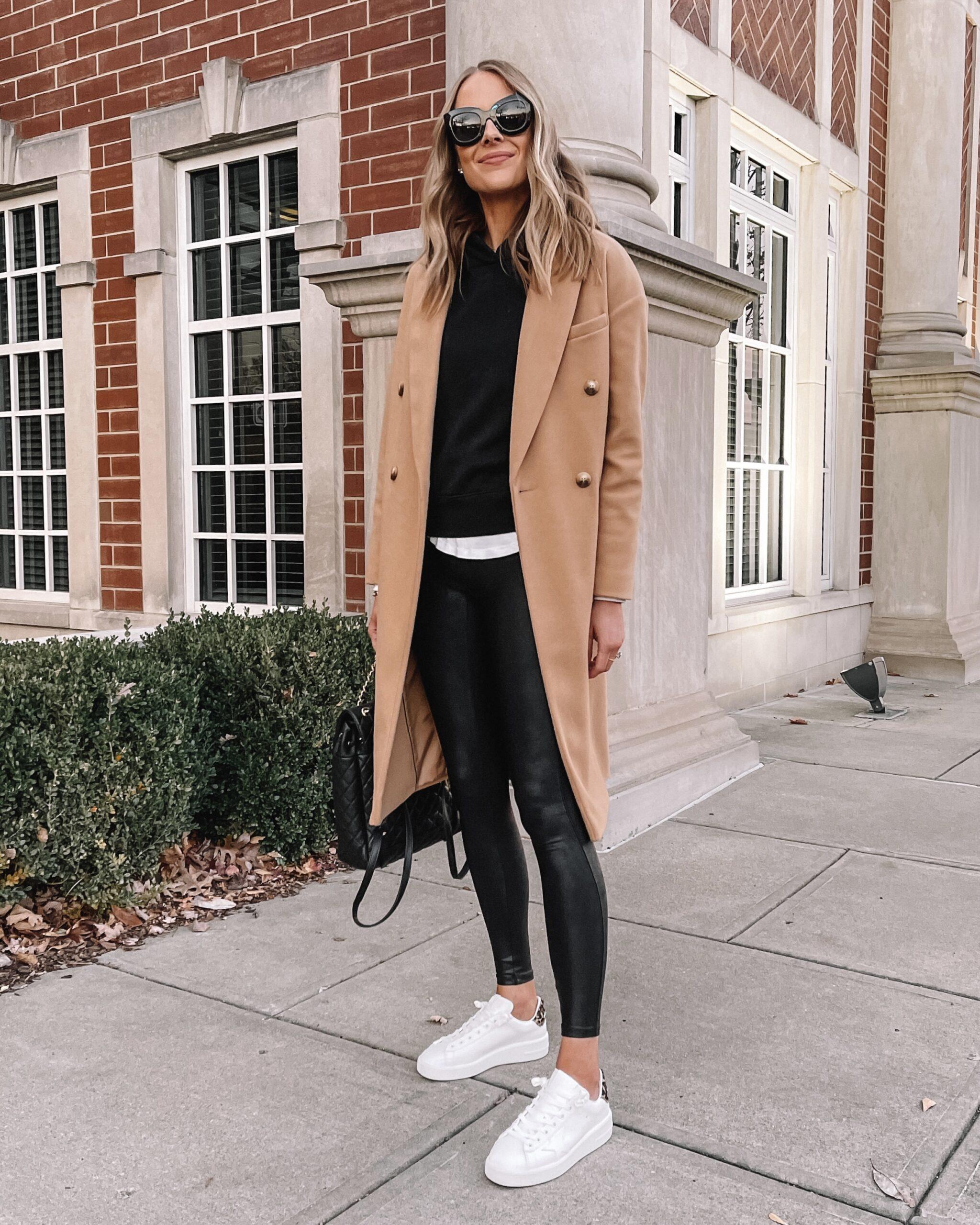 Fashion Jackson Wearing Camel Coat Black Sweatshirt Spanx Faux Leather Leggings Golden Goose Sneakers