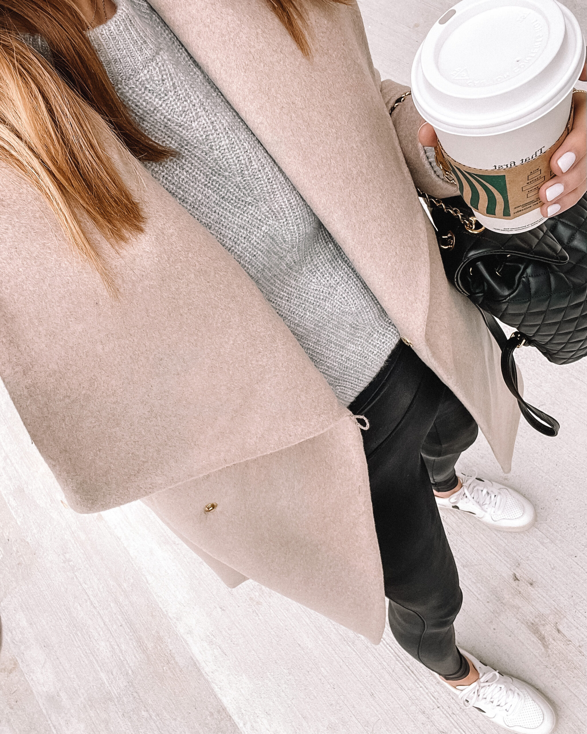 Fashion Jackson Wearing Camel Wrap Coat Spanx Faux Leather Leggings Veja Sneakers Outfit