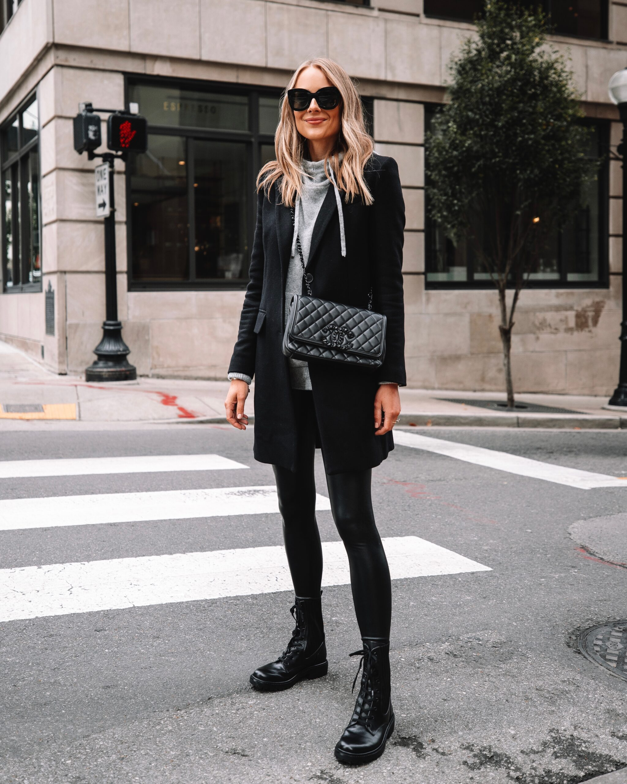 Fashion Jackson Wearing Commando Faux Leather Leggings Black Wool Coat Combat Boots Street Style Outfit