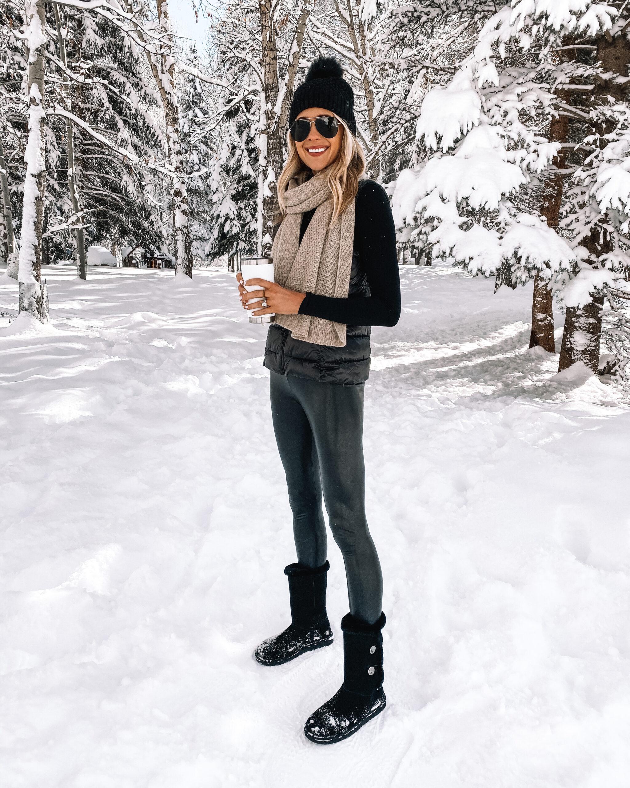Fashion Jackson Wearing Commando Faux Leather Leggings Winter Outfit Black Puffer Vest Camel Scarf Black Beanie Black Snow Boots