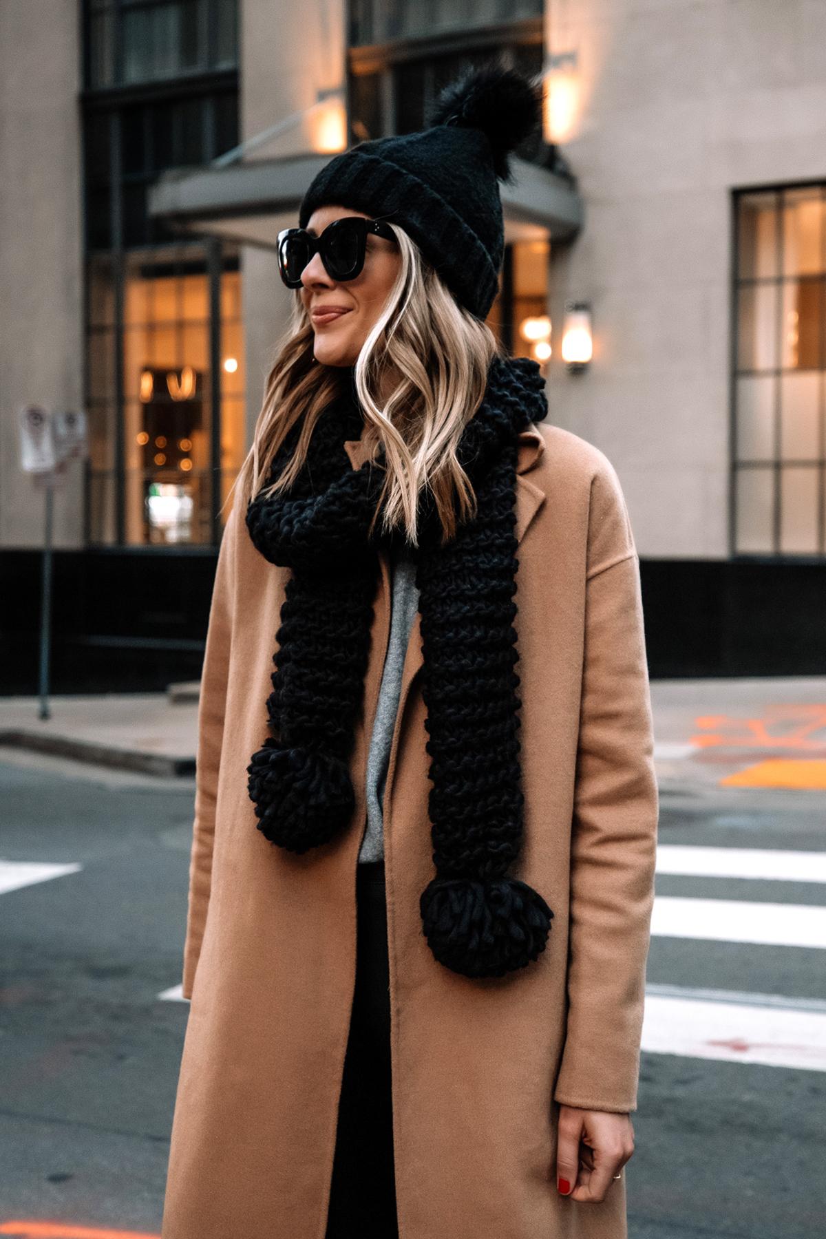 Fashion Jackson Wearing Express Camel Coat Black Scarf Black Beanie Street Style