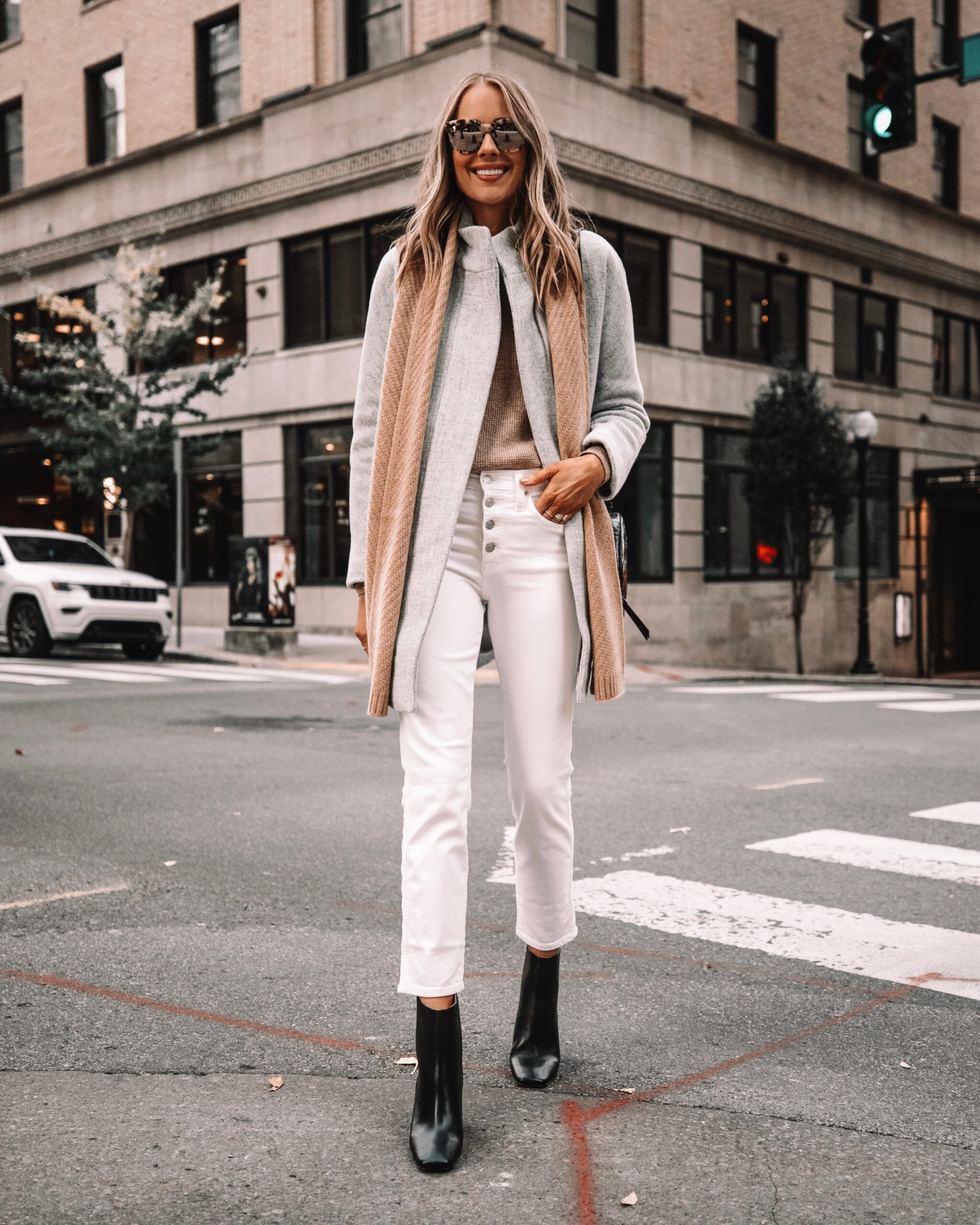 Fashion Jackson Wearing Jcrew Grey Coat White Jeans Camel Scarf Black Booties Winter Outfit