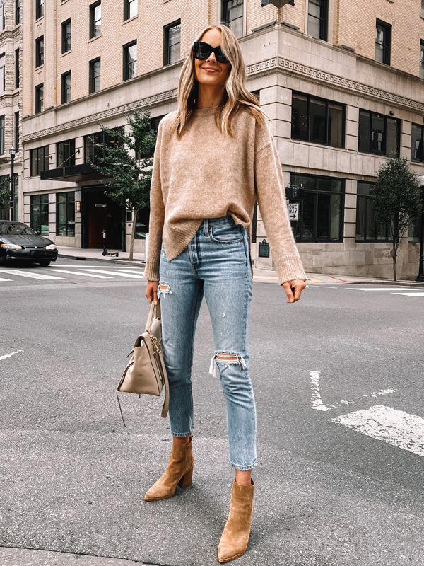 Fashion Jackson Wearing Jenni Kayne Eco Boyfriend Sweater