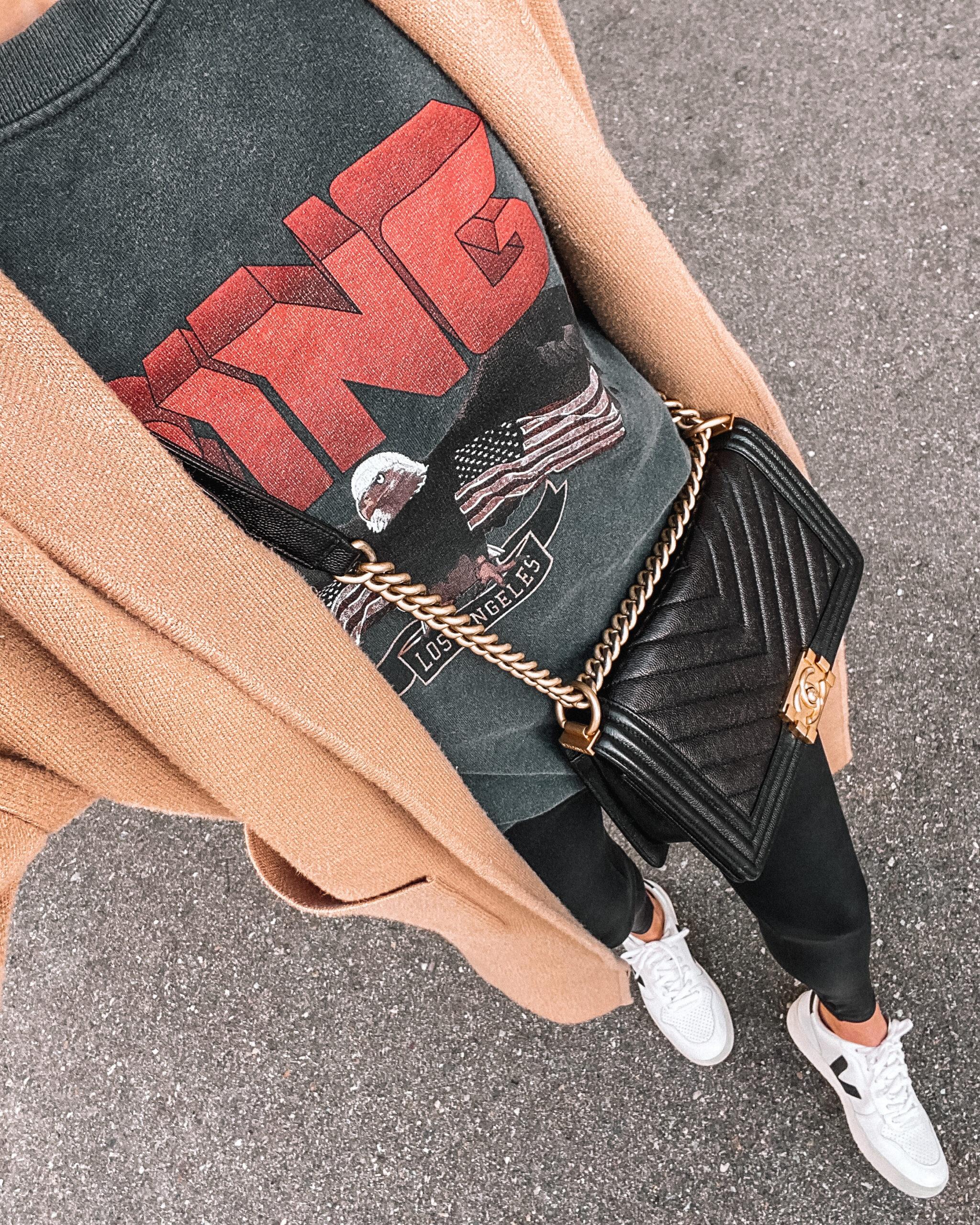 Fashion Jackson Wearing Spanx Faux Leather Leggings Anine Bing Sweatshirt Camel Coatigan Veja Sneakers