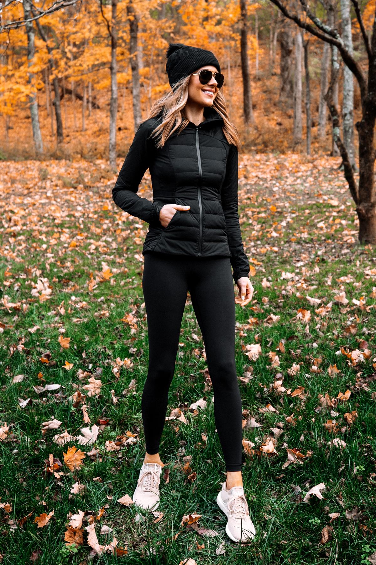 Fashion Jackson Wearing lululemon Black Beanie Black Jacket Black Leggings 1