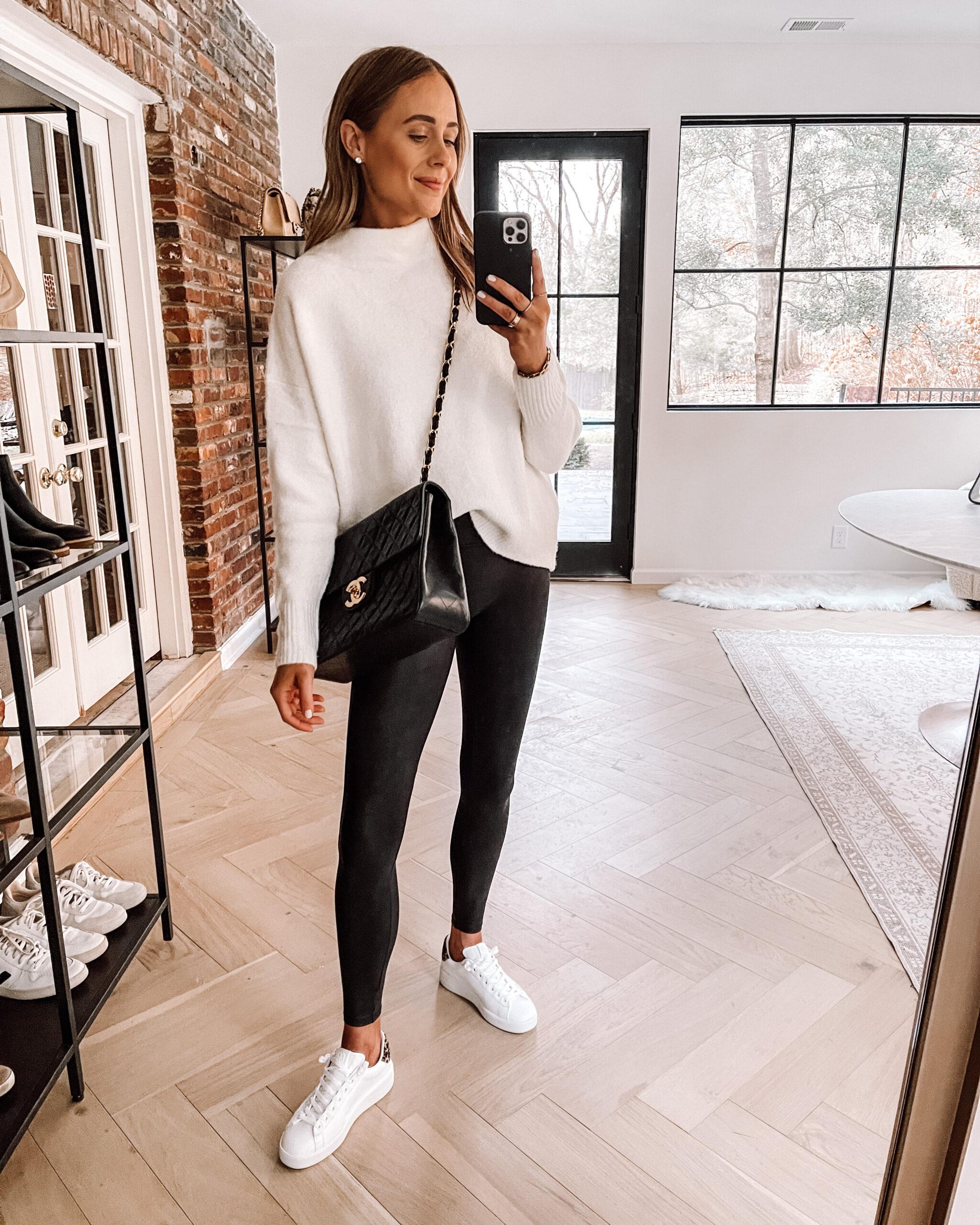 Fashion Jackson Wearing Amazon Fashion White Sweater Spanx Faux Leather Leggings Golden Goose Sneakers