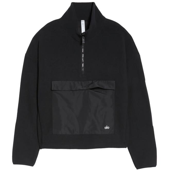 Alo Yoga Blackcomb Black Fleece Pullover