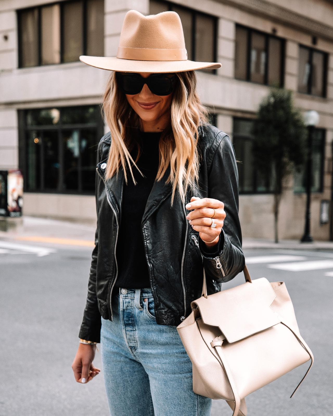 Fashion Jackson Wearing Madewell Black Leather Jacket Tan Wide Brim Hat Celine Mini Belt Bag