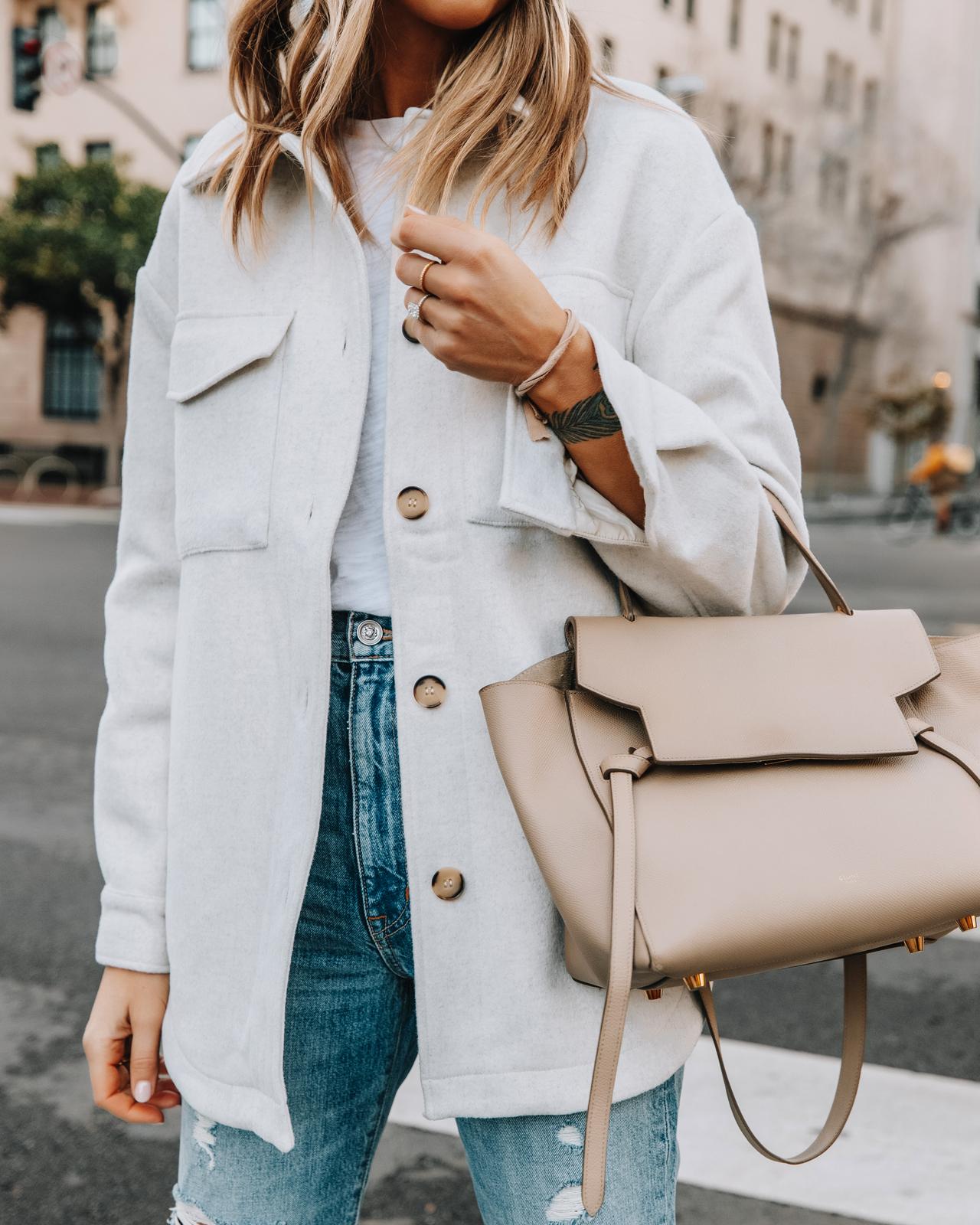 Fashion Jackson Wearing Beige Shacket White Tshirt Ripped Jeans Celine Belt Bag