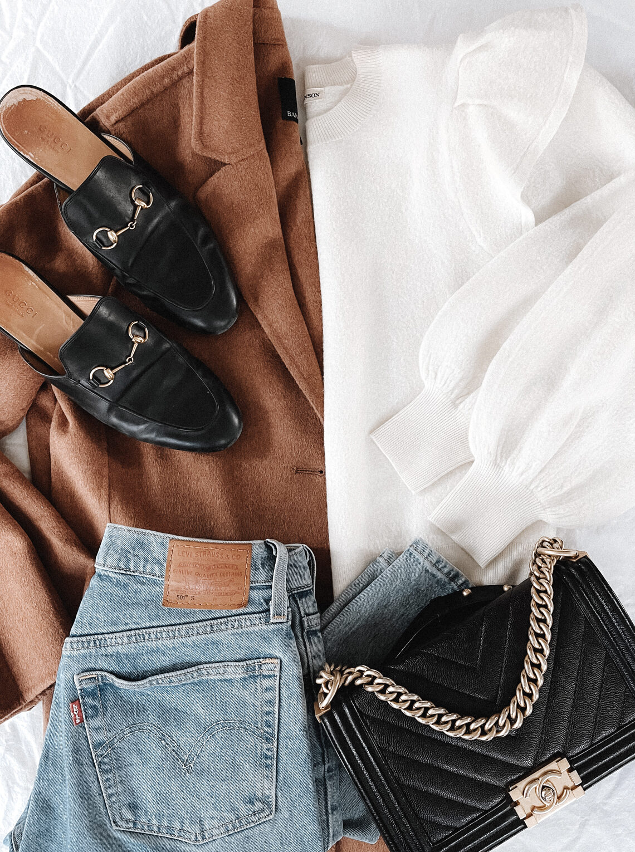 Fashion Jackson Camel Coat White Ruffle Sweatshirt Gucci Mules Chanel Boy Bag Outfit Flat Lay