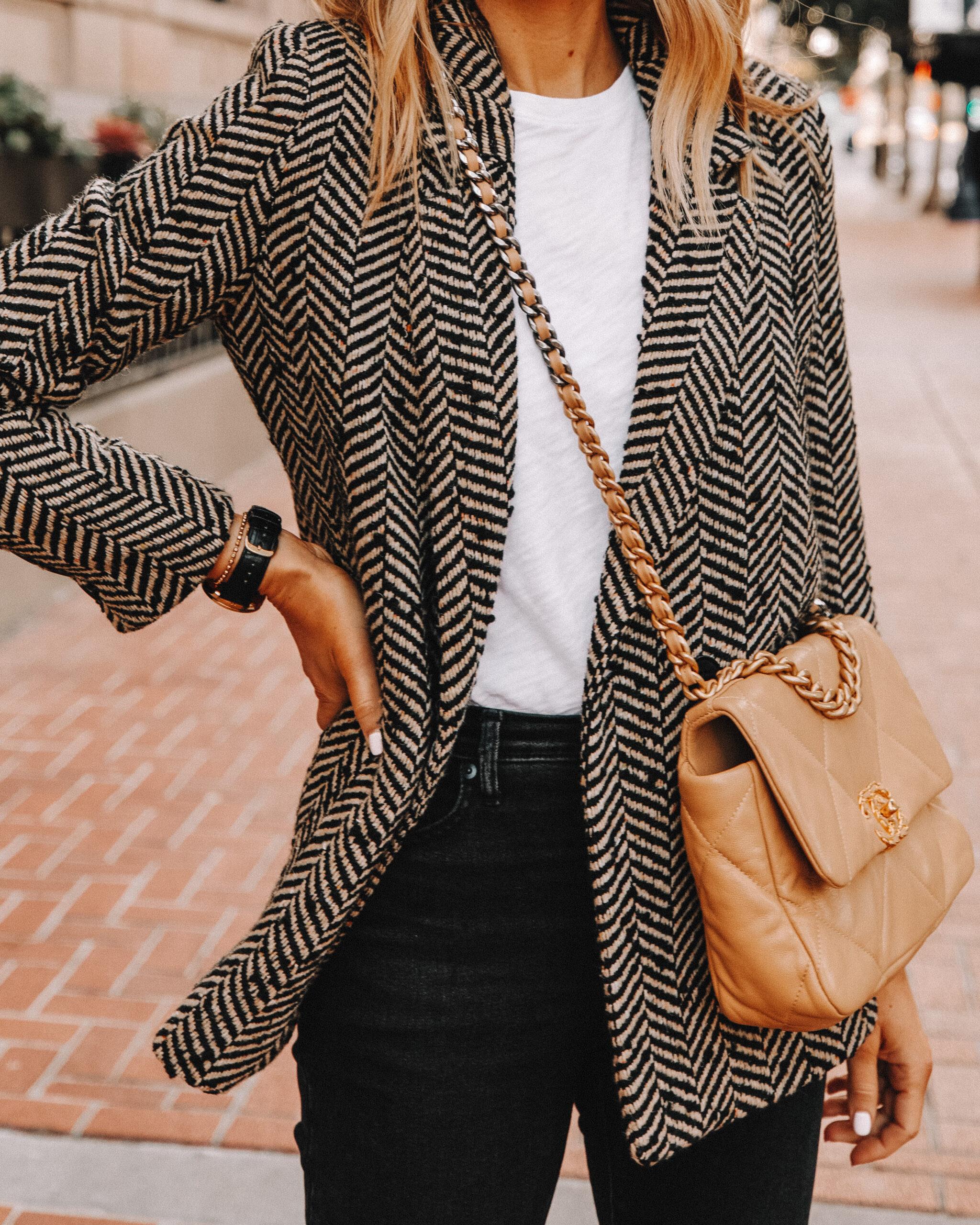Fashion Jackson Wearing Anine Bing Fishbone Blazer White Tshirt Black Jeans Chanel 19 Handbag