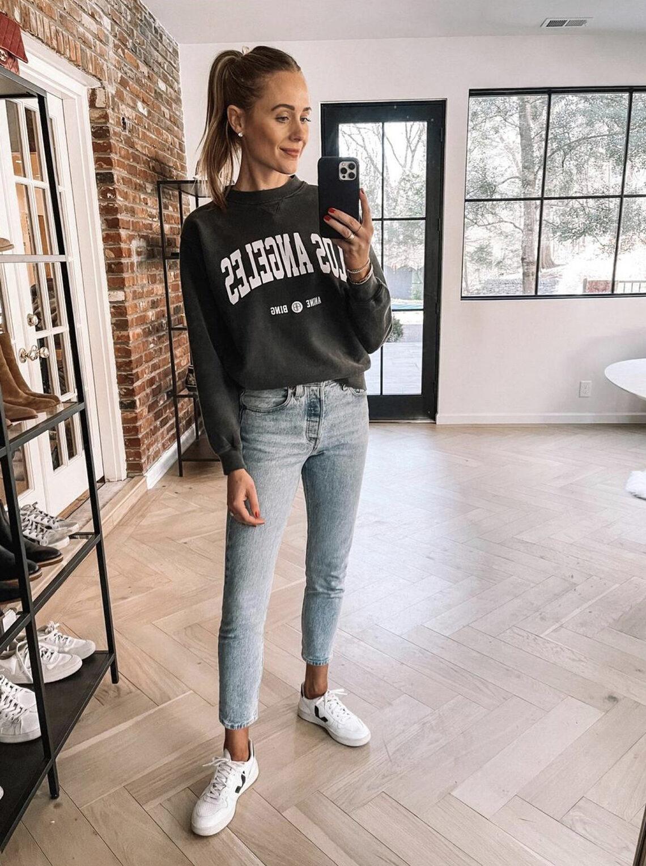 Fashion Jackson Wearing Anine Bing LA Sweatshirt