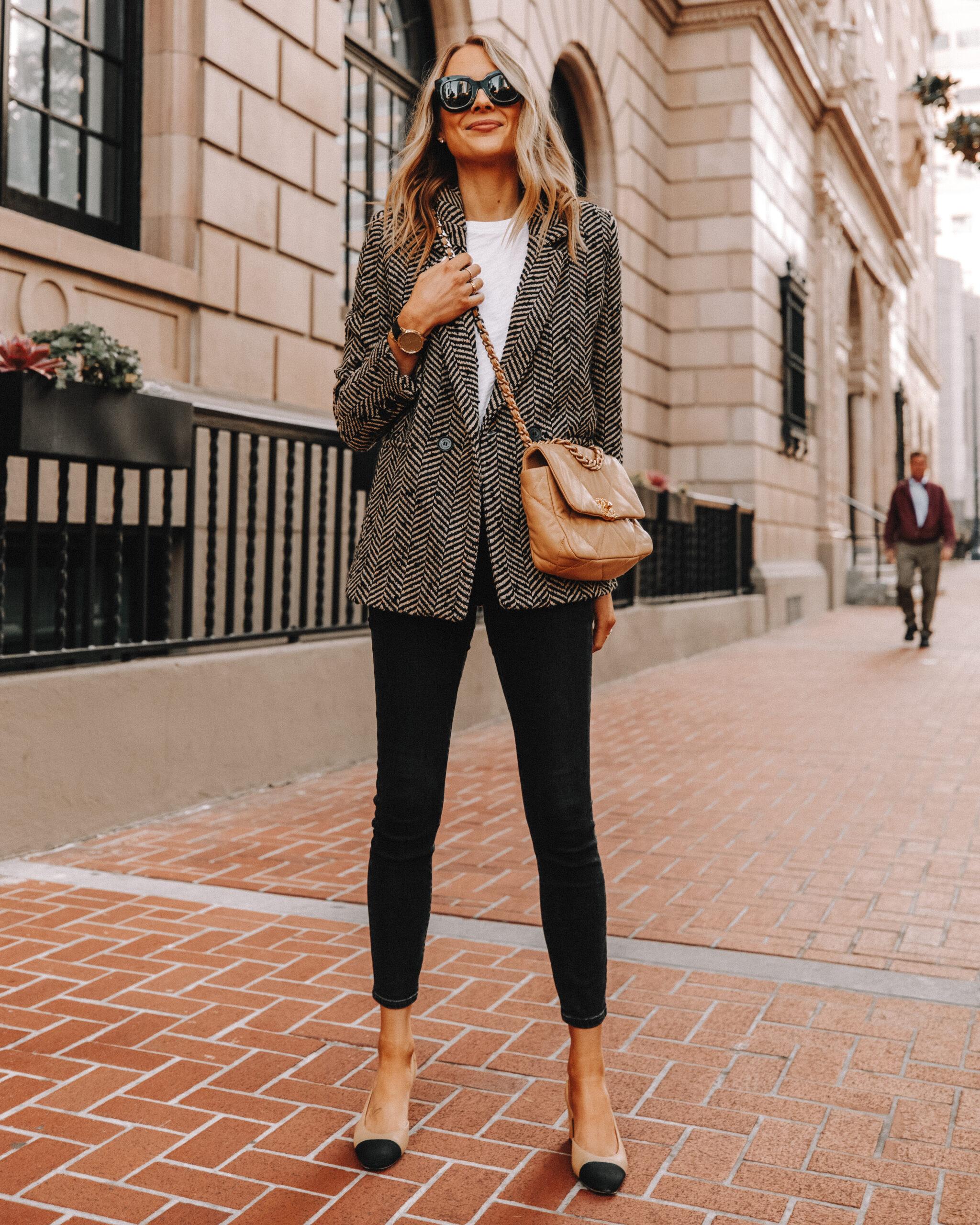 Fashion Jackson Wearing Anine Bing Tweed Blazer White Tshirt Black Jeans Chanel Slingbacks