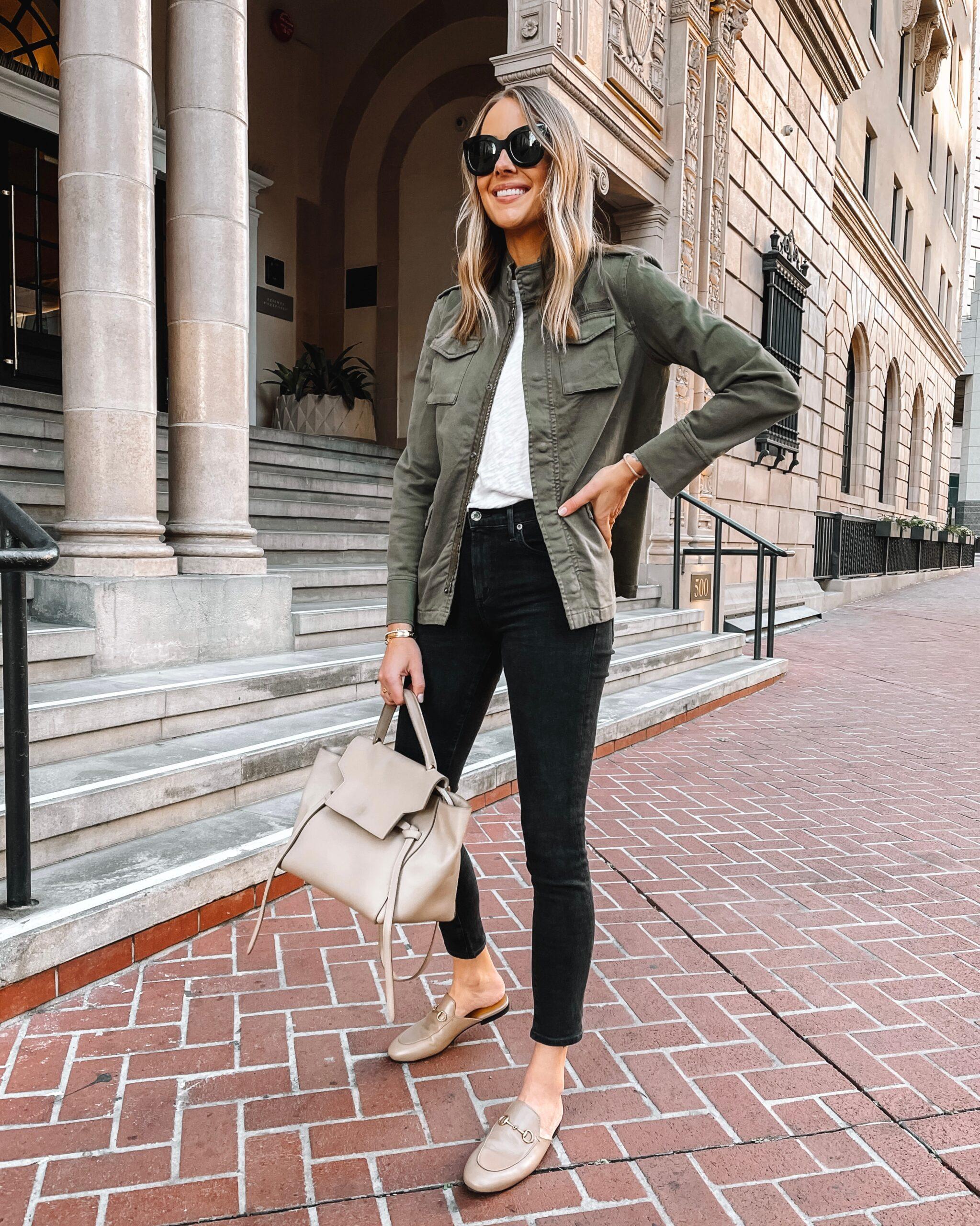 Fashion Jackson Wearing Anine Bing Utility Jacket Black Jeans Gucci Mules Celine Belt Bag