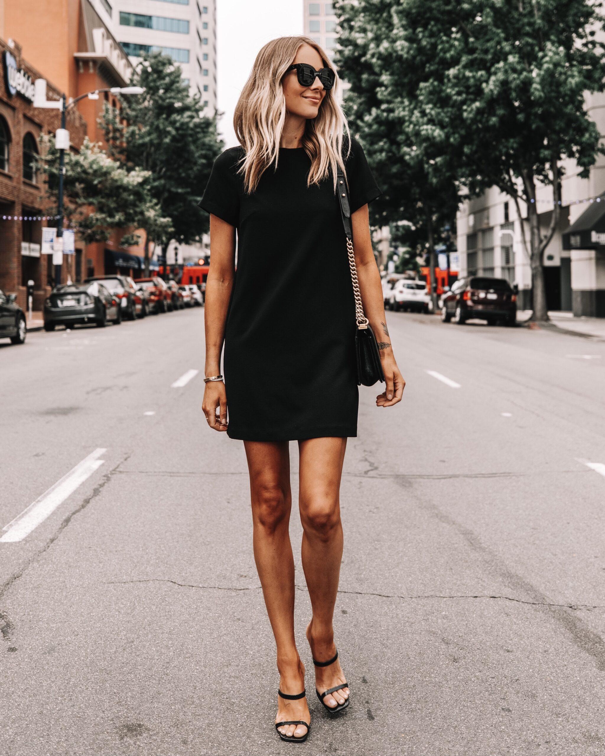 Fashion Jackson Wearing Black Shift Dress Black Heeled Sandals
