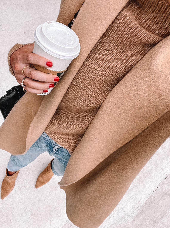 Fashion Jackson Wearing Camel Coat Camel Sweater