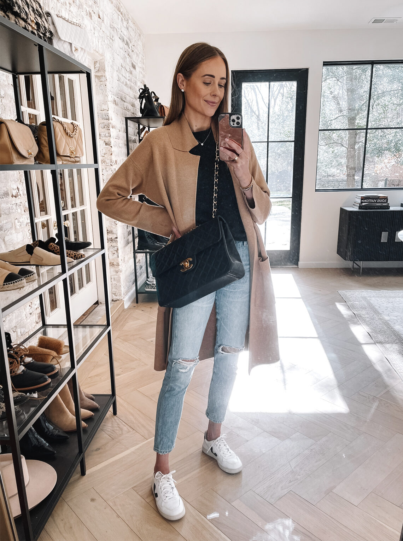 Fashion Jackson Wearing Camel Coatigan Veja Sneakers Chanel Handbag