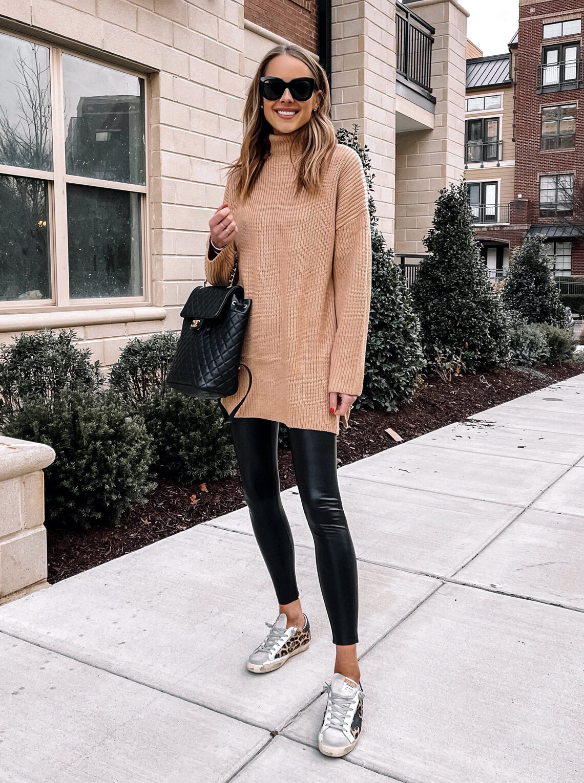 Fashion Jackson Wearing Camel Sweater Faux Leather Leggings Leopard Golden Goose