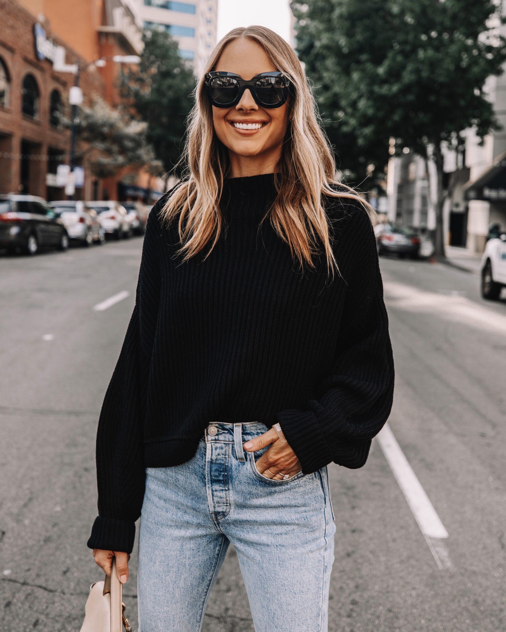 Fashion Jackson Wearing Celine Sunglasses Free People Black Sweater