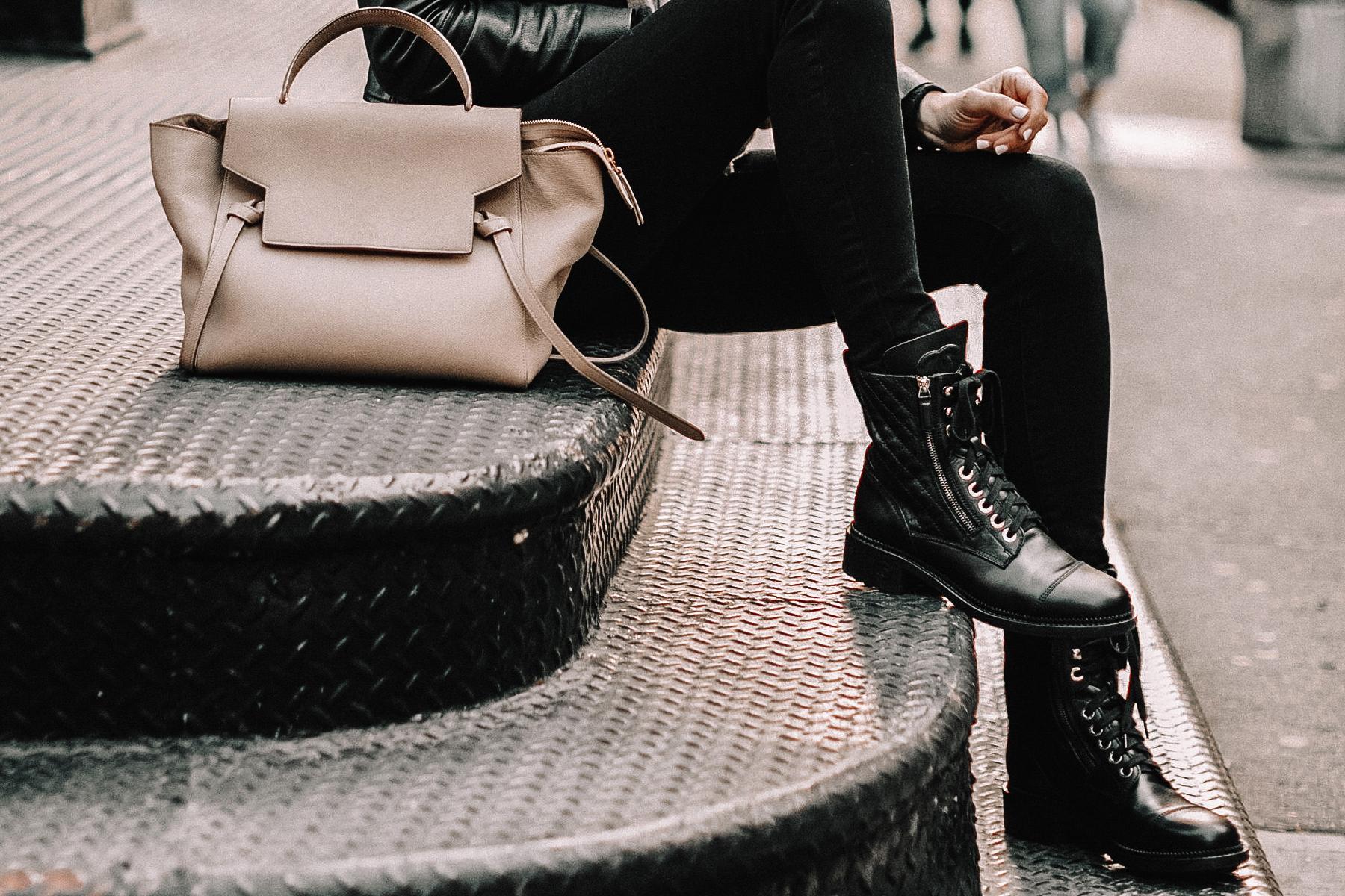Fashion Jackson Wearing Chanel Quilted Black Combat Boots Celine Mini Belt Bag