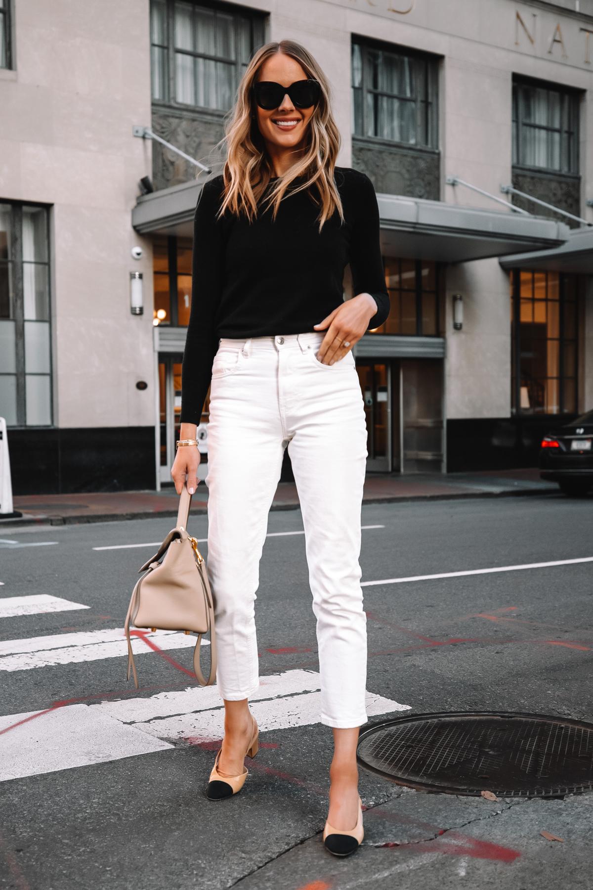 Fashion Jackson Wearing Everlane Black Cashmere Sweater Everlane White Jeans Chanel Slingbacks Celine Belt Bag Street Style 2