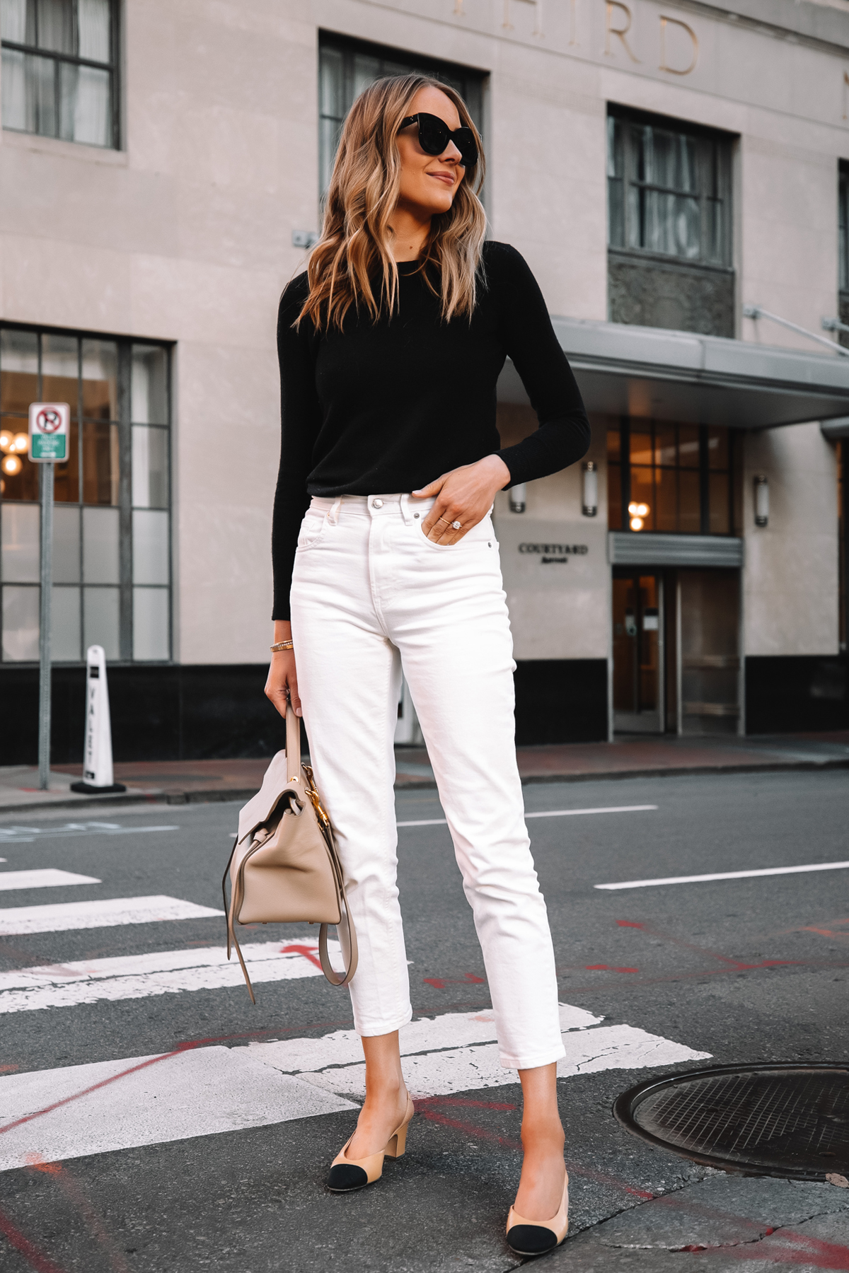 Fashion Jackson Wearing Everlane Black Cashmere Sweater Everlane White Jeans Chanel Slingbacks Celine Belt Bag Street Style 3