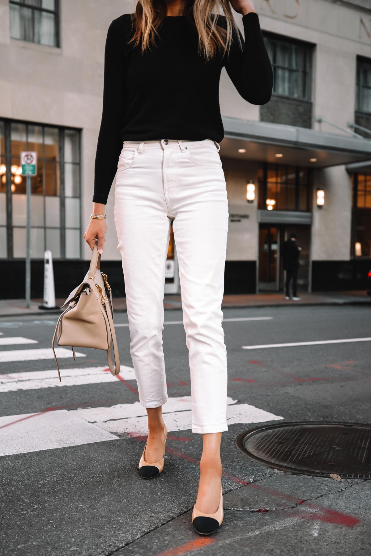 Fashion Jackson Wearing Everlane Black Cashmere Sweater Everlane White Jeans Chanel Slingbacks Celine Belt Bag