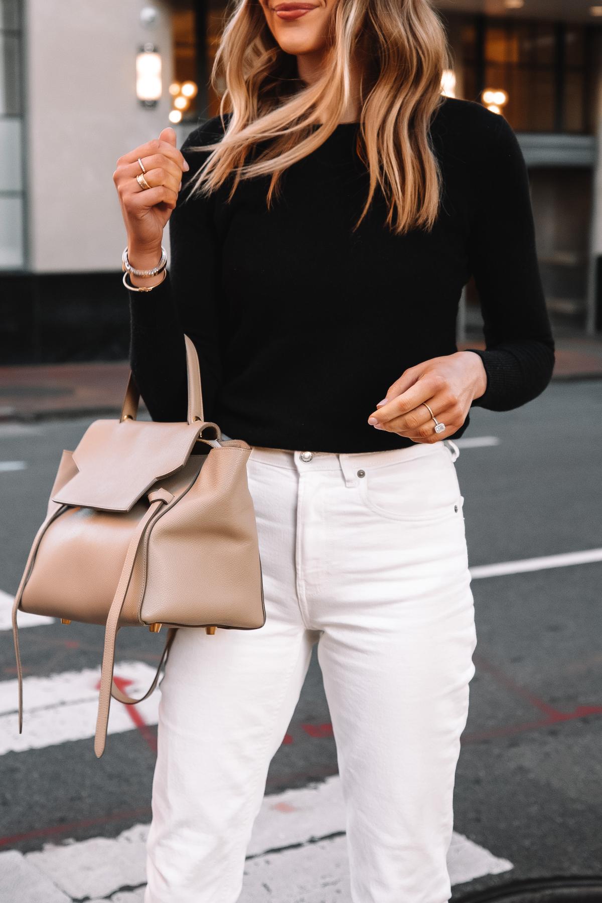 Fashion Jackson Wearing Everlane Black Cashmere Sweater White Jeans Celine Belt Bag 1