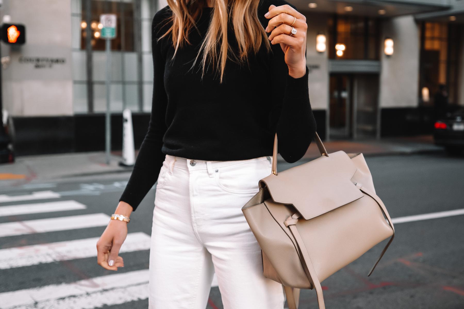Fashion Jackson Wearing Everlane Black Cashmere Sweater White Jeans Celine Belt Bag