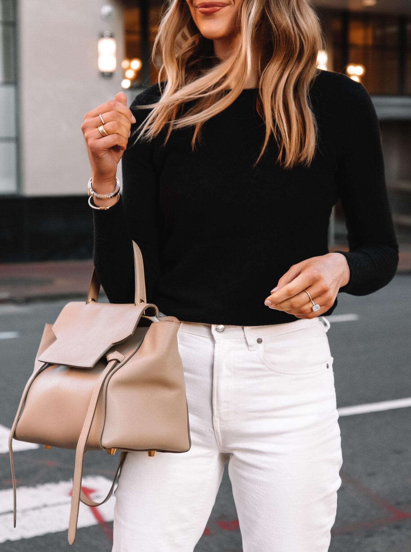 Fashion Jackson Wearing Everlane Cashmere Sweater White Jeans