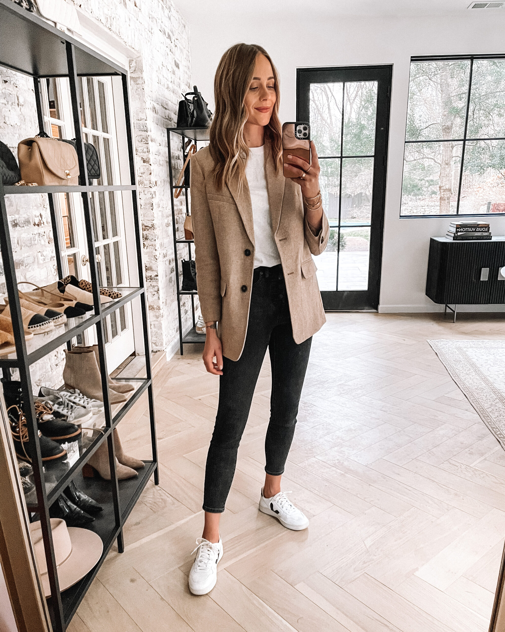 Fashion Jackson Wearing Everlane Tan Blazer White Tshirt Black Skinny Jeans Veja Sneakers Outfit
