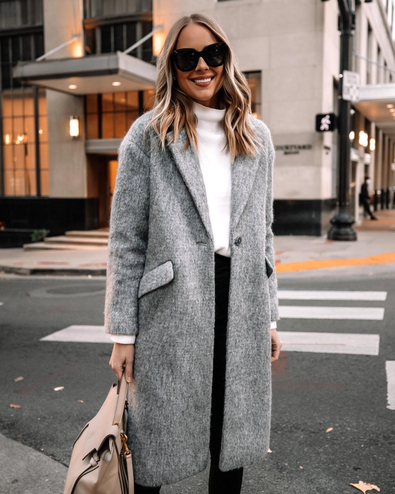 Fashion Jackson Wearing Express Grey Wool Coat White Sweater Winter Outfit