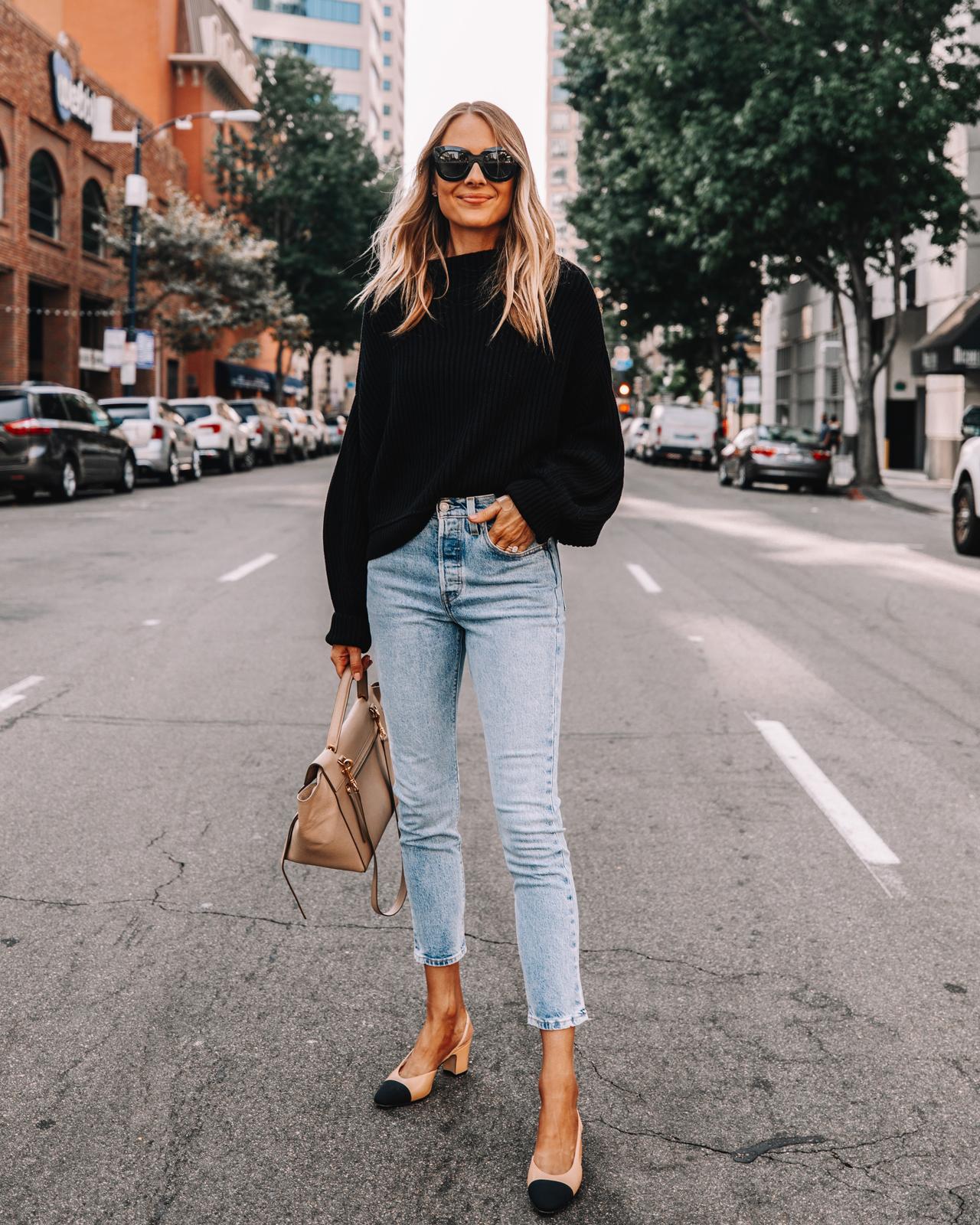 Fashion Jackson Wearing Free People Black Sweater Levis Skinny Jeans Chanel Slingbacks