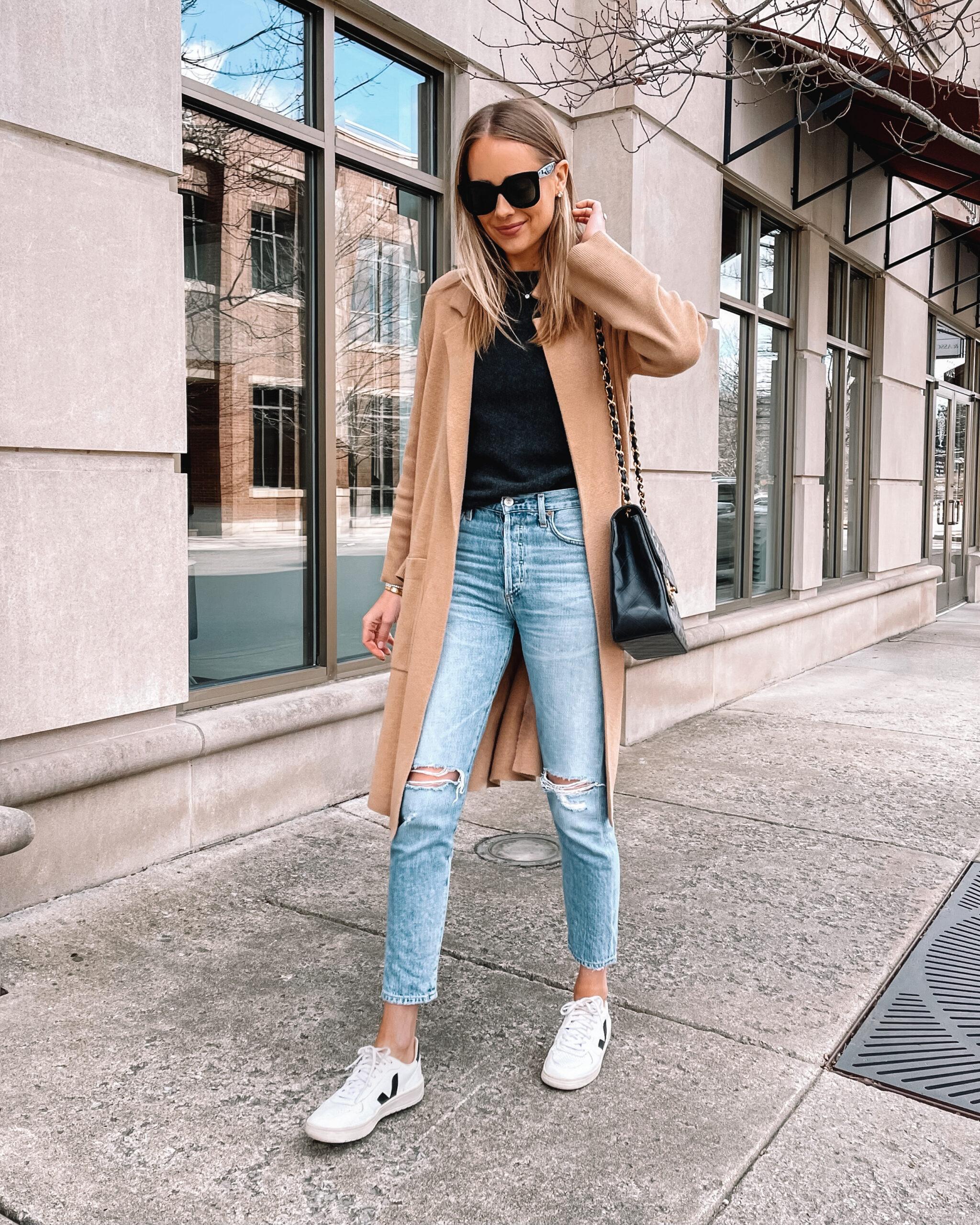 Fashion Jackson Wearing Tan Coatigan Black Sweater Jeans Veja Sneakers Outfit
