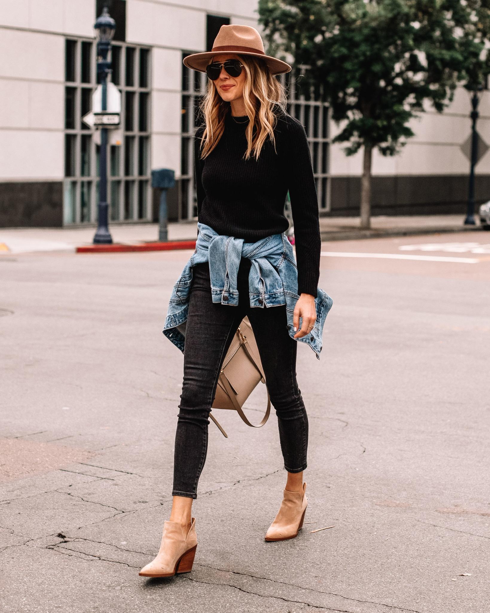 Fashion Jackson Wearing Tan Hat Black Sweater Black Skinny Jeans Tan Suede Booties Denim Jacket