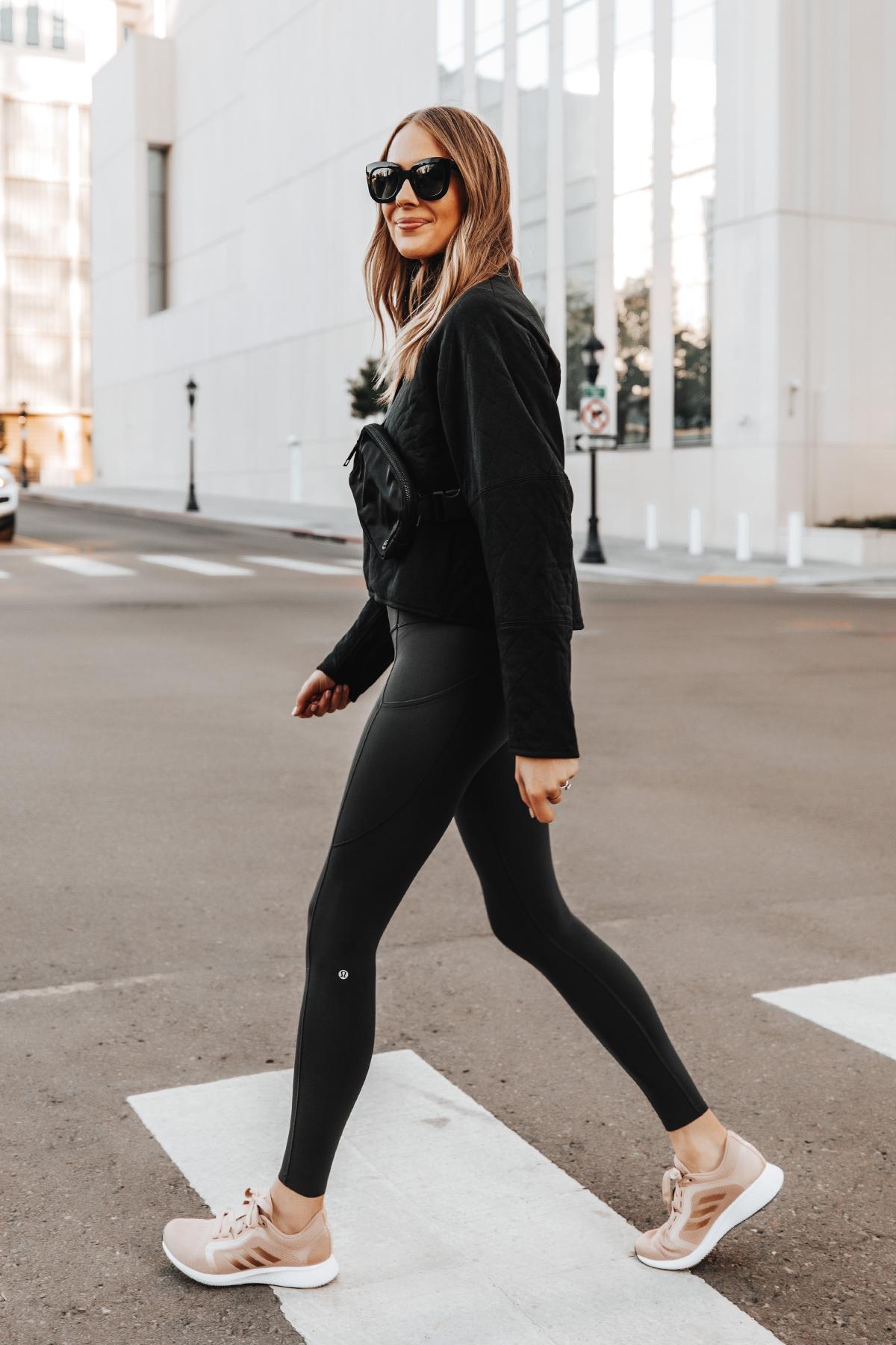 Fashion Jackson Wearing lululemon Black Outfit adidas Blush Sneakers