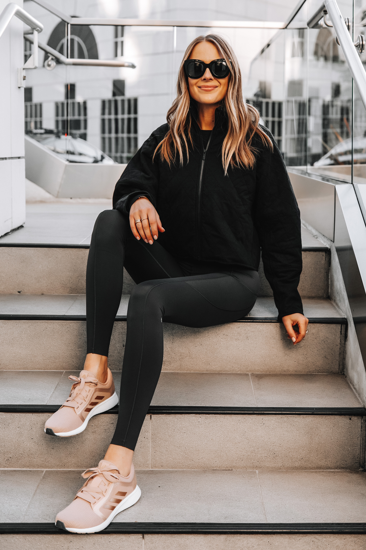 Fashion Jackson Wearing lululemon Black Outfit adidas Pink Sneakers 1