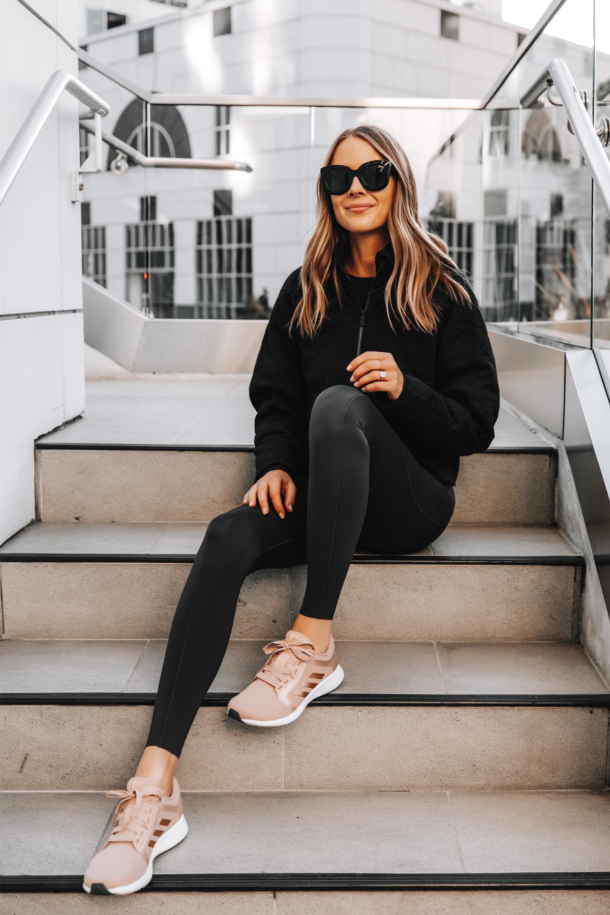 Fashion Jackson Wearing lululemon Black Outfit adidas Pink Sneakers 2