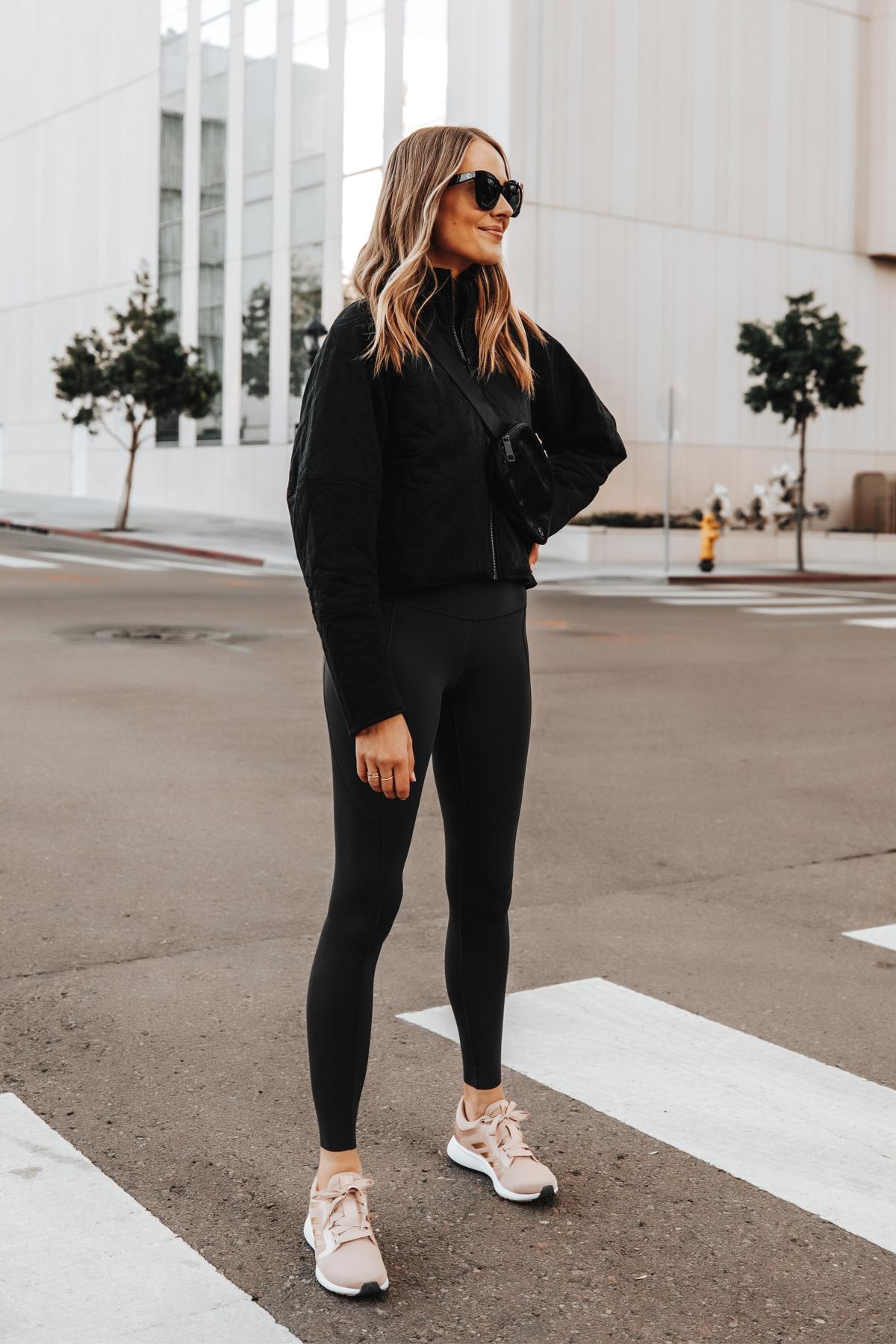 Fashion Jackson Wearing lululemon Black Outfit adidas Pink Sneakers