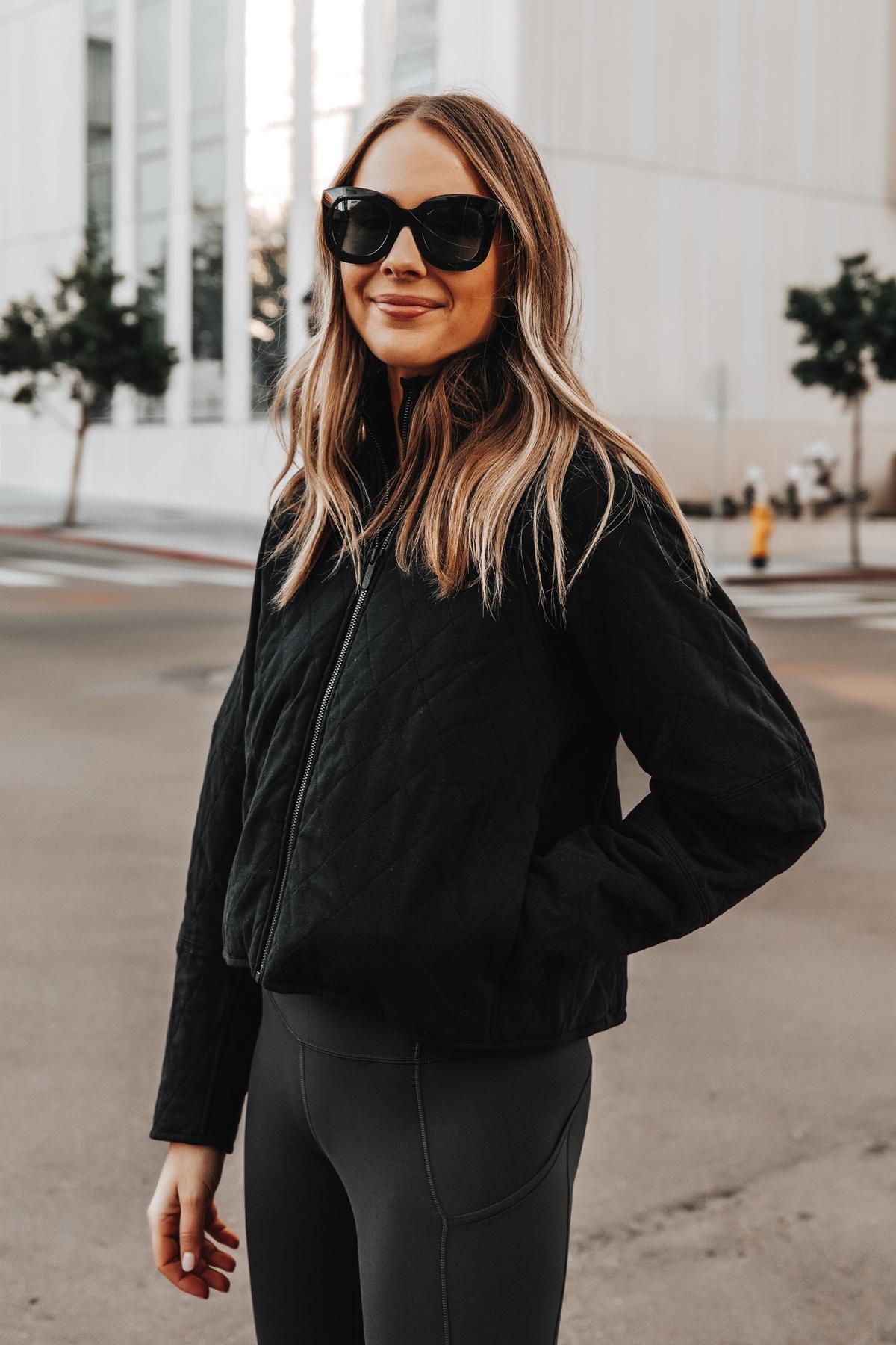 Fashion Jackson Wearing lululemon Black Quilted Jacket Grey leggings 1