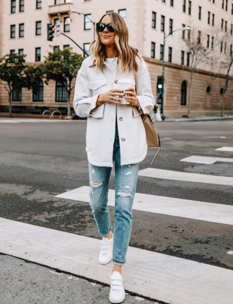 An On-Trend Shacket and Veja Sneakers Outfit