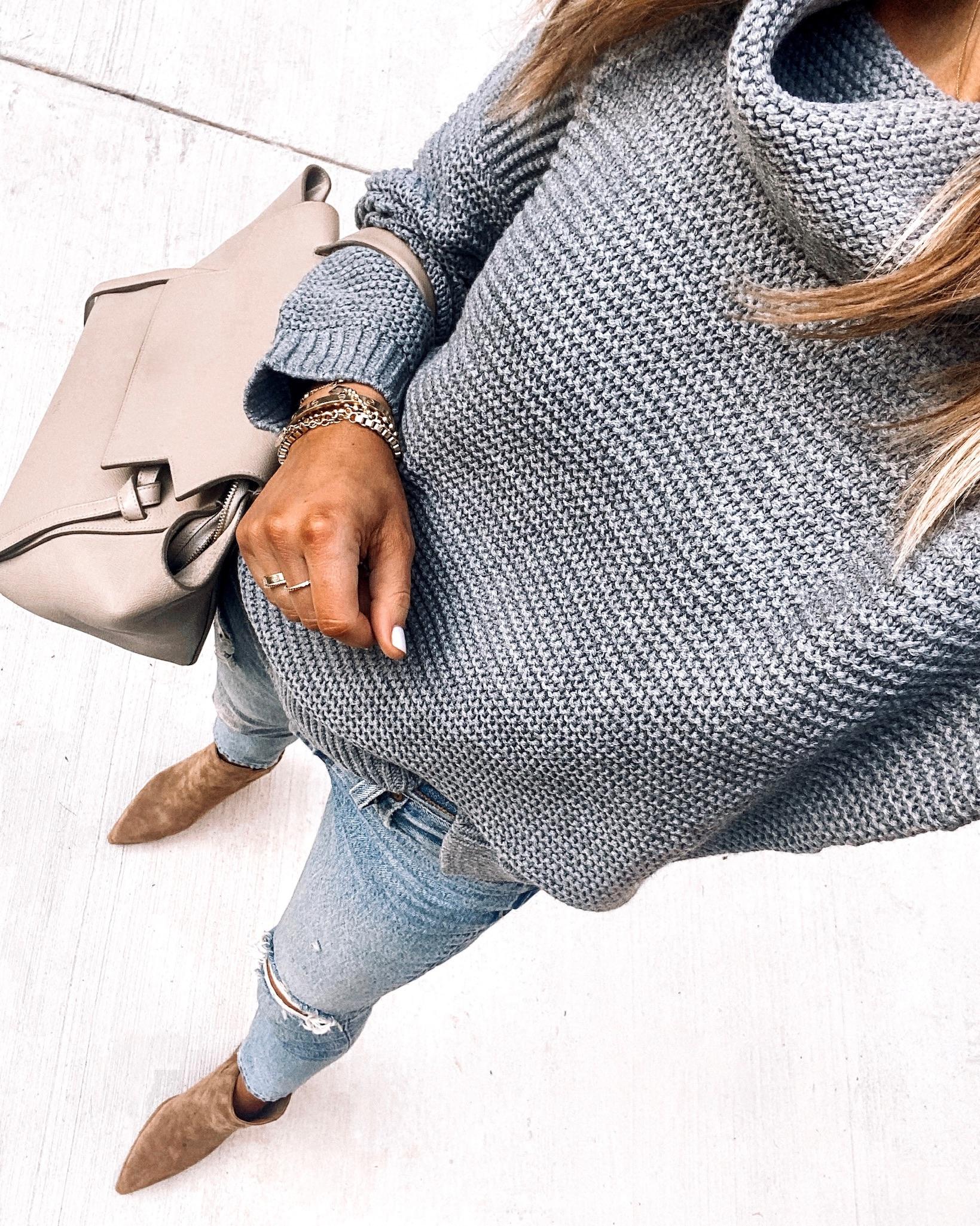 Fashion Jackson Wearing Amazon Fashion Grey Turtleneck Sweater