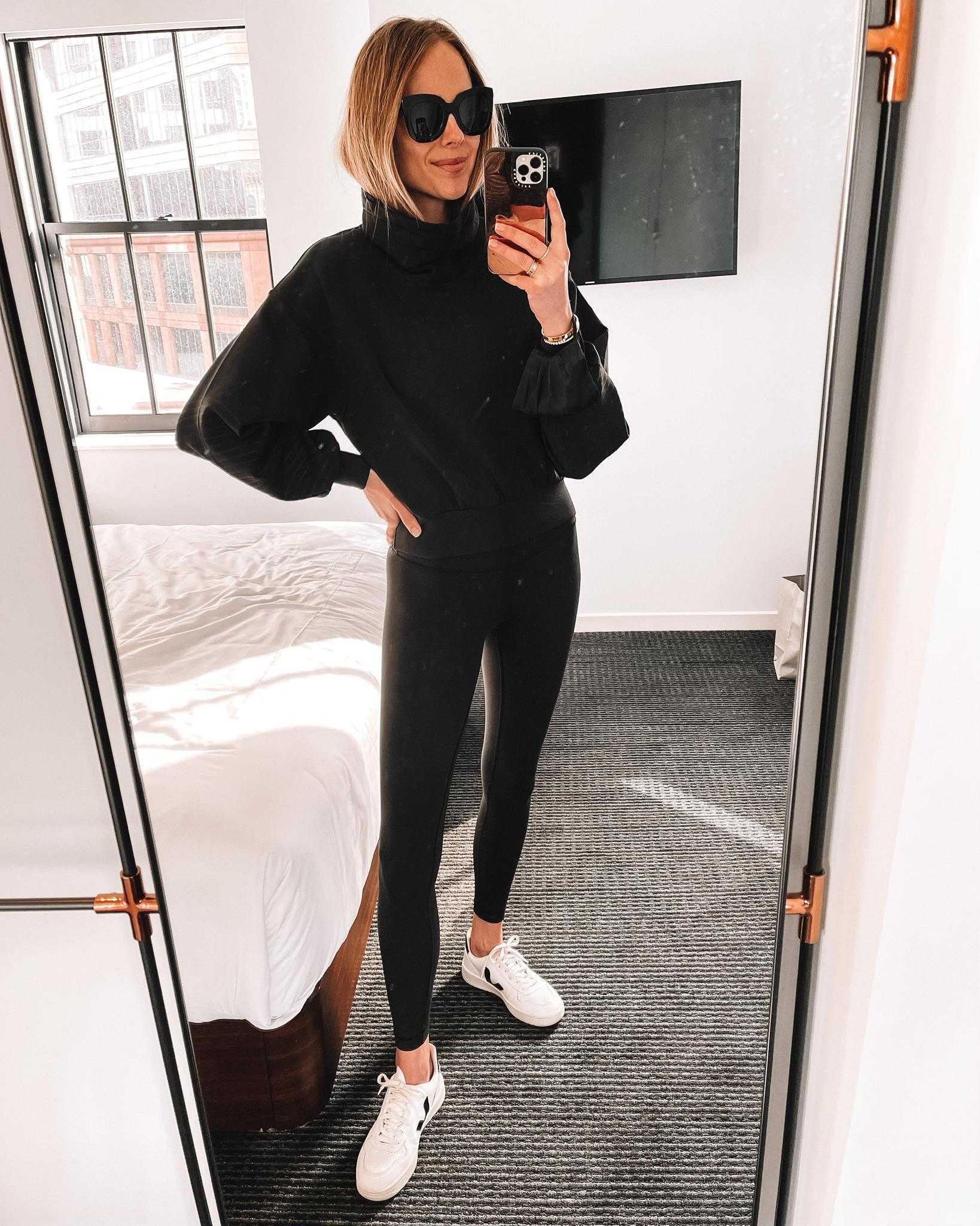 Fashion Jackson Wearing lululemon Black Outfit