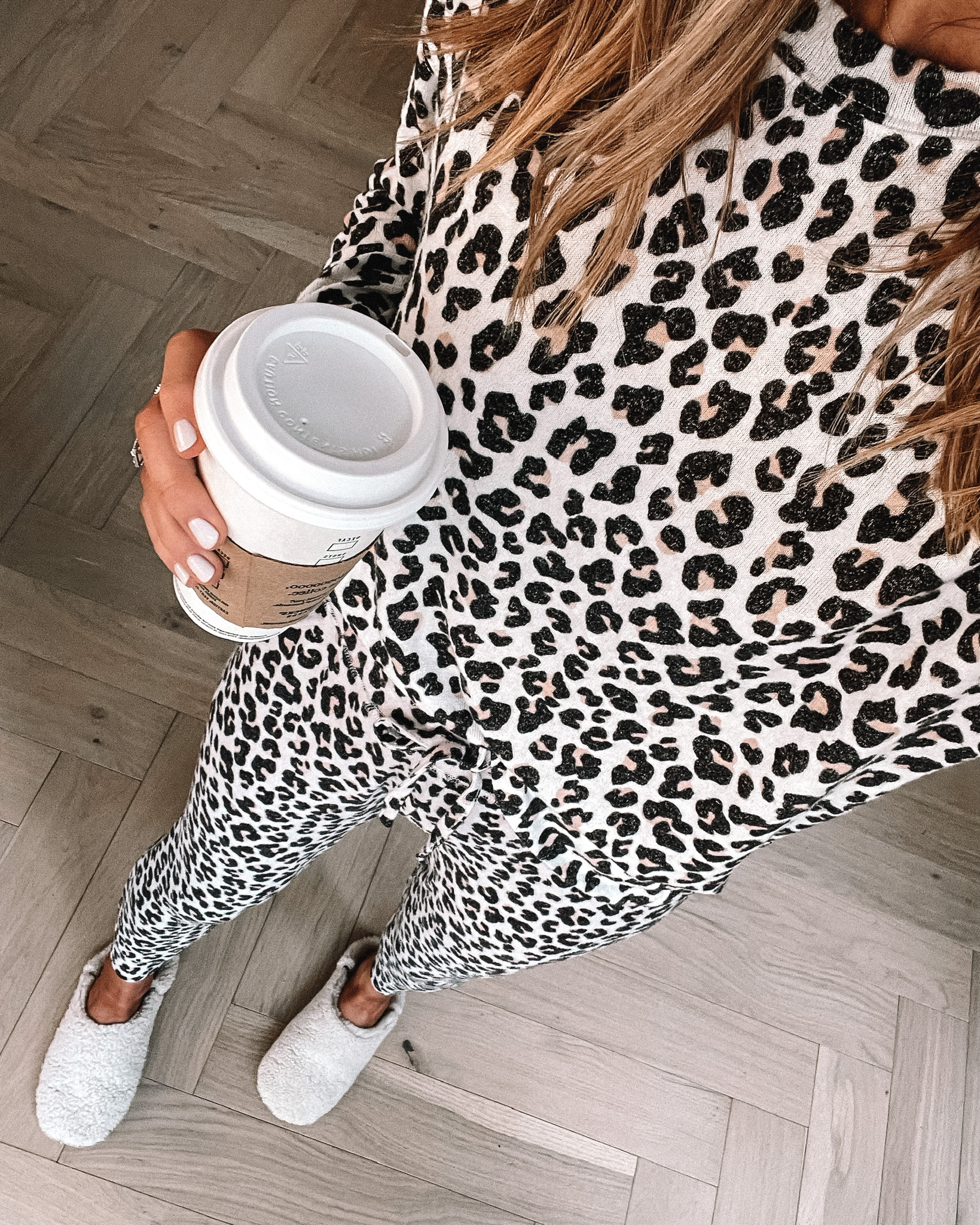 Fashion Jackson Wearing Leopard Pajama Set Jenni Kayne Slippers